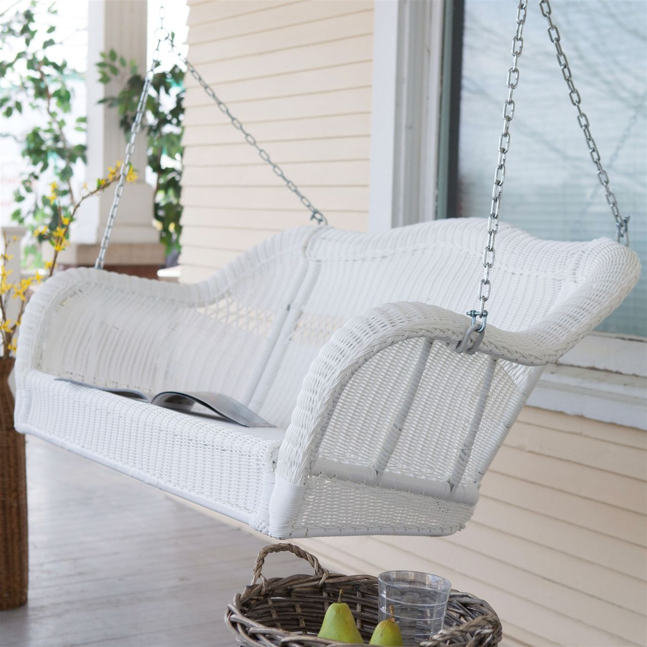 Most Recent Porch Swings With Chain Throughout White Resin Wicker Porch Swing, Hanging Chain – 600 Lb (View 13 of 26)