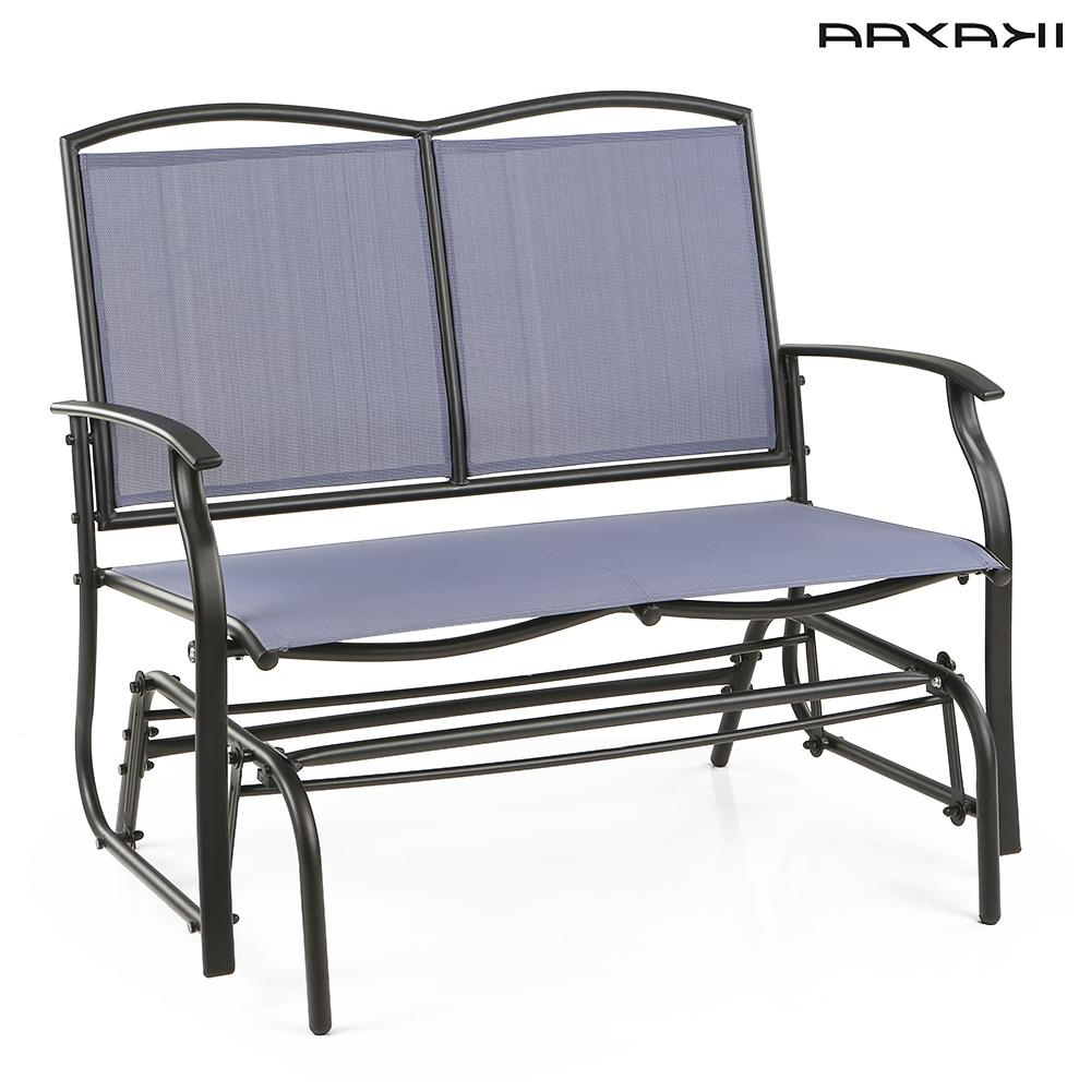 Most Recent Steel Patio Swing Glider Benches With Regard To Ikayaa 2 Person Patio Swing Glider Bench Chair Loveseat (Gallery 4 of 25)