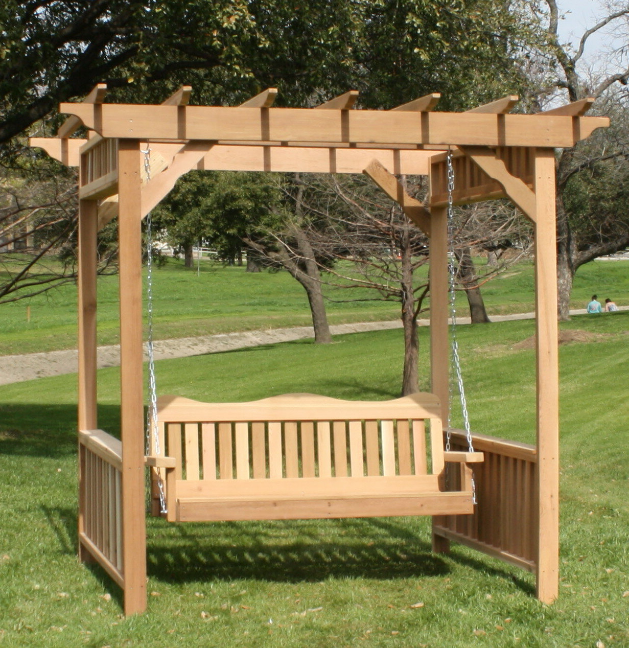 Most Recent Thayer Cedar Arbor Porch Swing With Stand Throughout Pergola Porch Swings With Stand (View 6 of 25)
