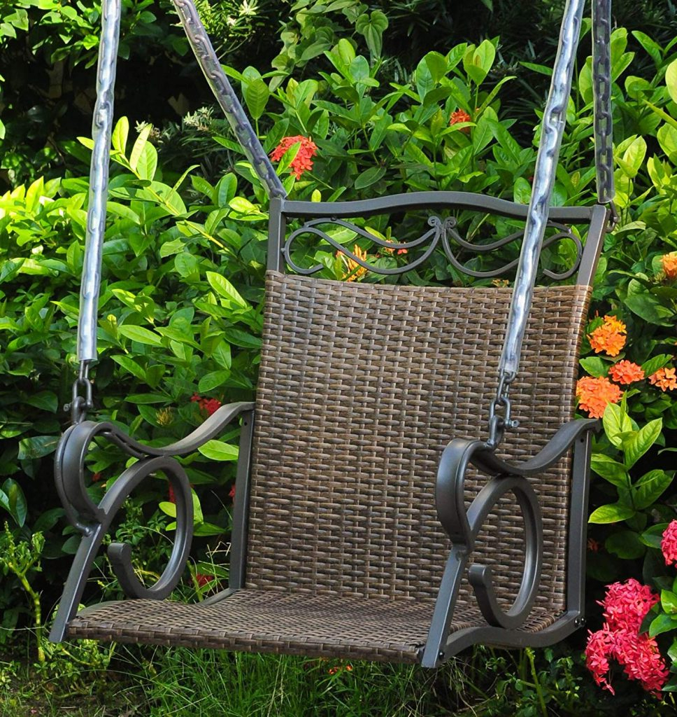 Most Recently Released 1 Person Antique Black Iron Outdoor Swings In Single Seater Porch Swing – For Small Porches And Terraces (View 10 of 25)