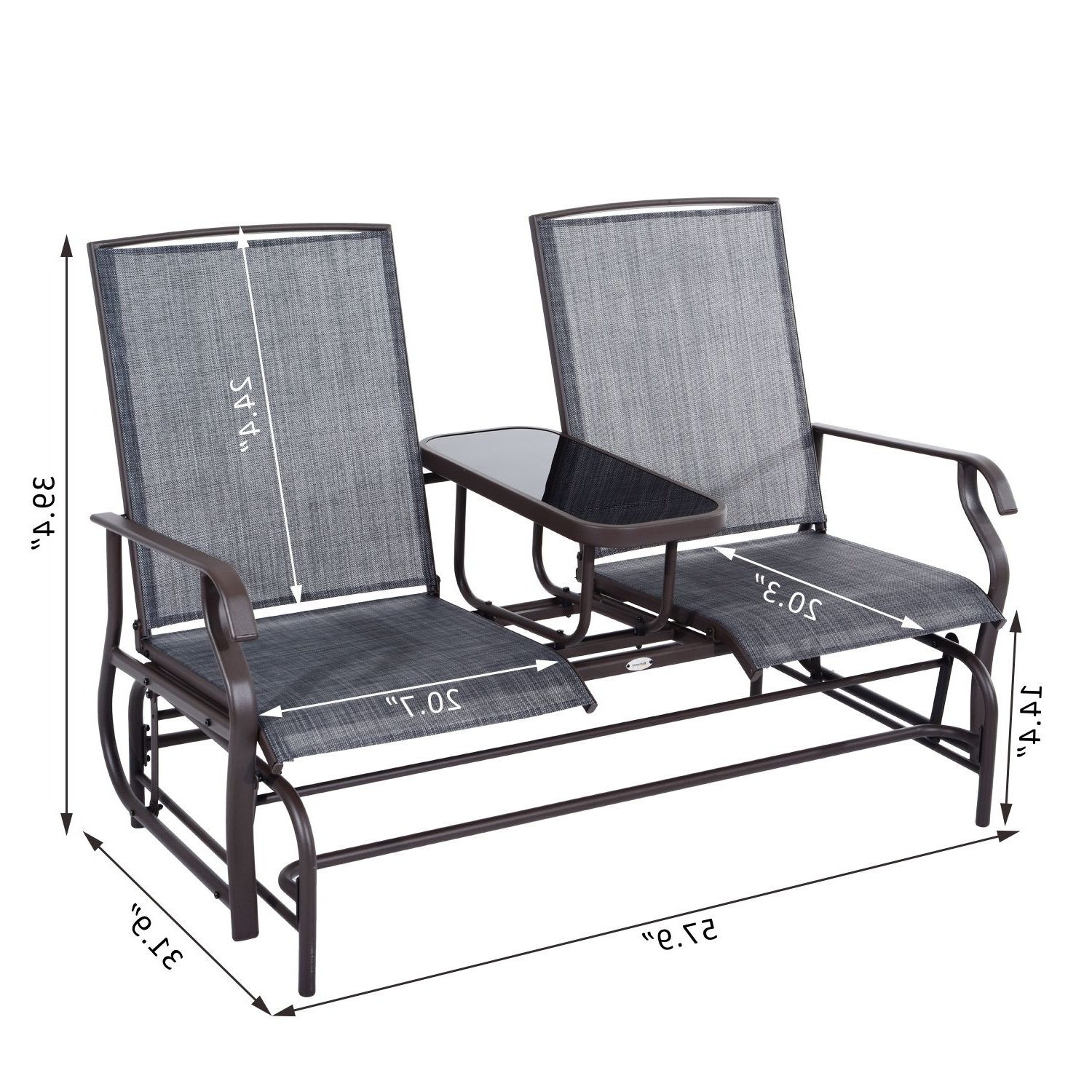 Most Recently Released 2 Person Loveseat Chair Patio Porch Swings With Rocker Regarding Patio Glider Rocking Chair Bench Loveseat 2 Person Rocker (Gallery 16 of 25)