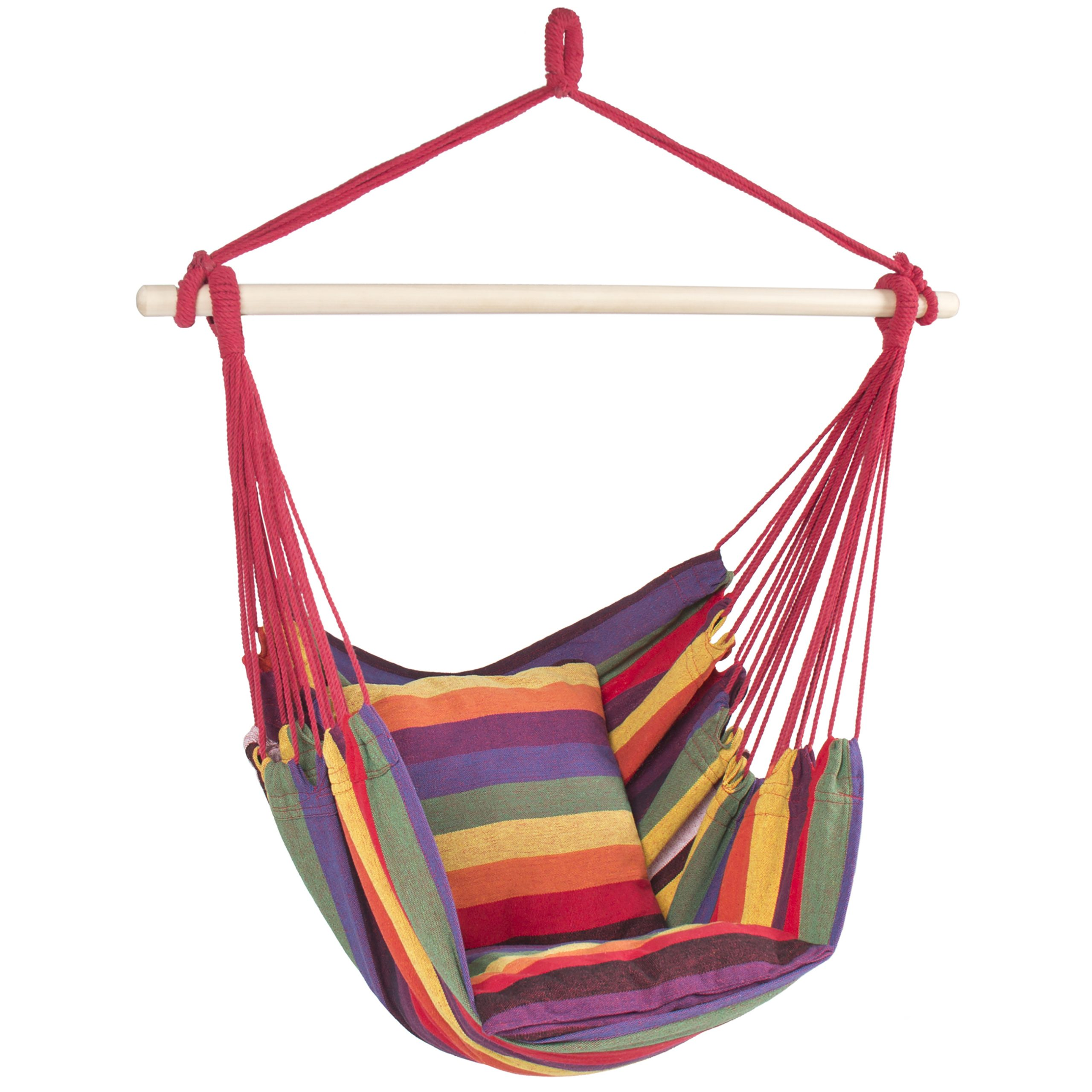 Most Recently Released Best Choice Products Portable Hanging Cotton Hammock Rope Chair Swing, Red Stripe – Walmart Inside Patio Hanging Porch Swings (Gallery 14 of 25)