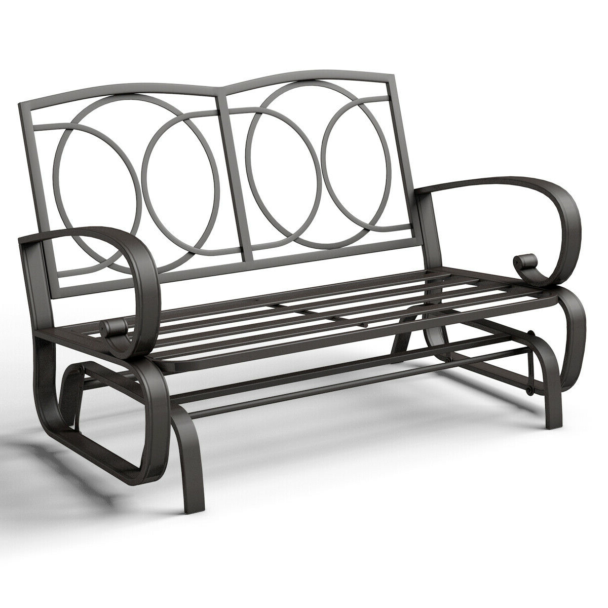 Most Recently Released Costway Glider Outdoor Patio Rocking Bench Loveseat For Black Steel Patio Swing Glider Benches Powder Coated (View 9 of 25)