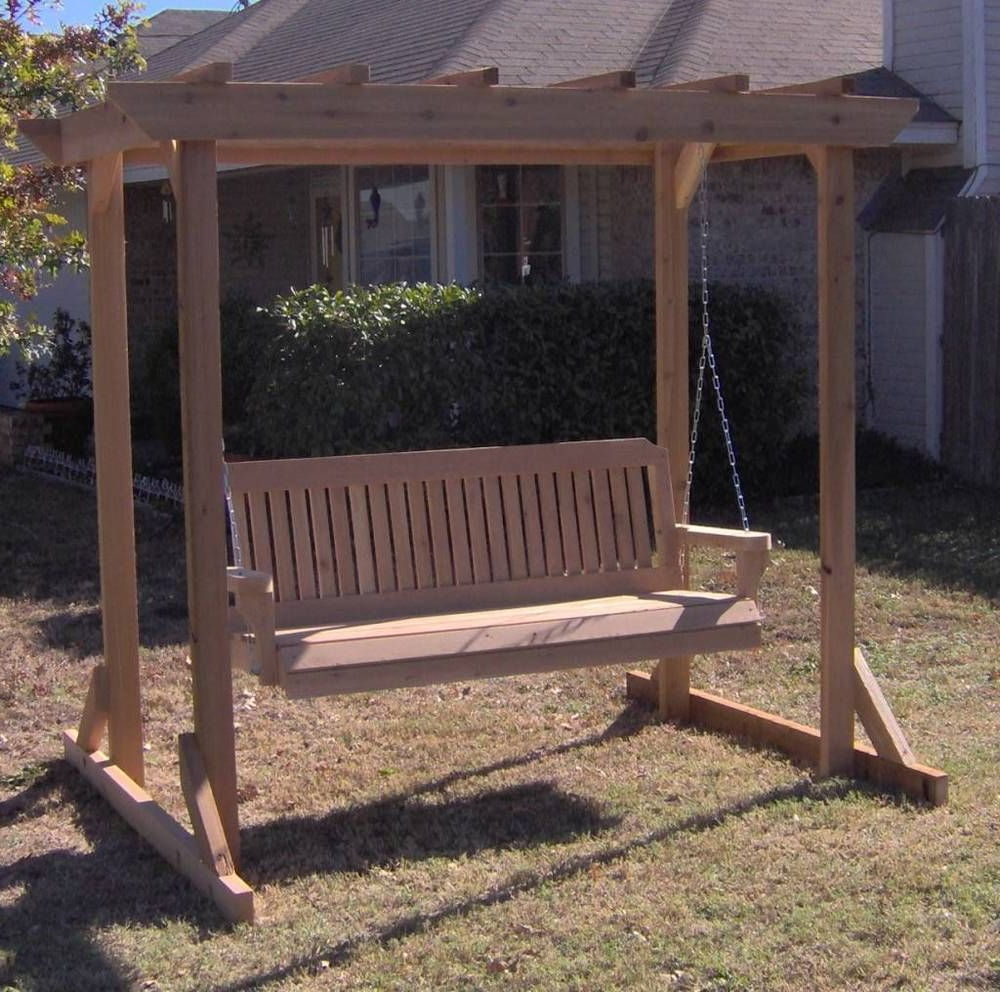 Most Recently Released Details About New All Cedar Garden Arbor & 5 Foot Porch Intended For Pergola Porch Swings With Stand (Gallery 4 of 25)
