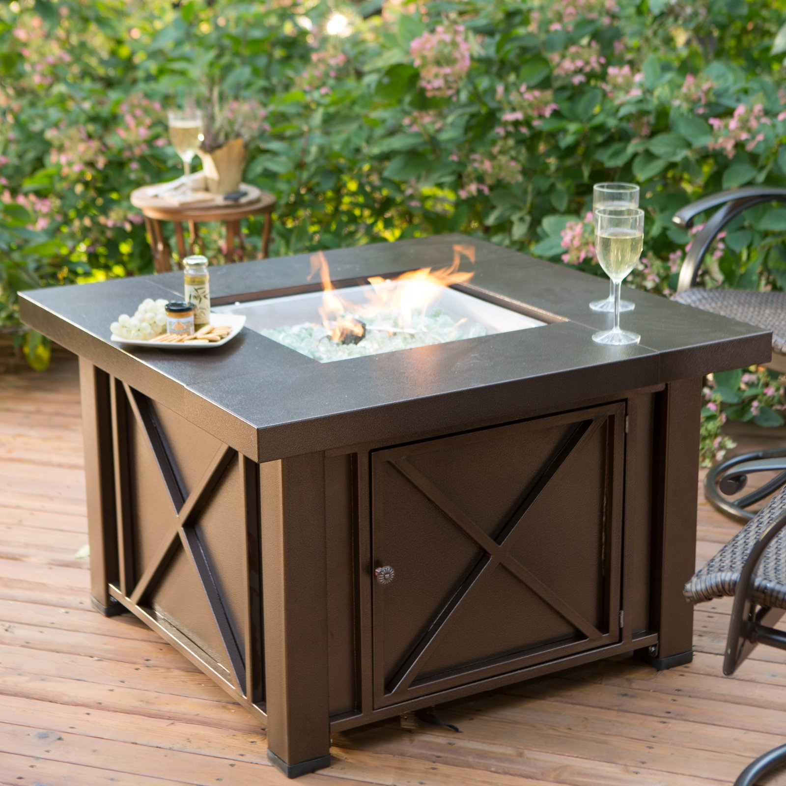 Most Recently Released Hiland Decorative Fire Pit Hammered Bronze Finish – Walmart Within 2 Person Hammered Bronze Iron Outdoor Swings (View 16 of 25)