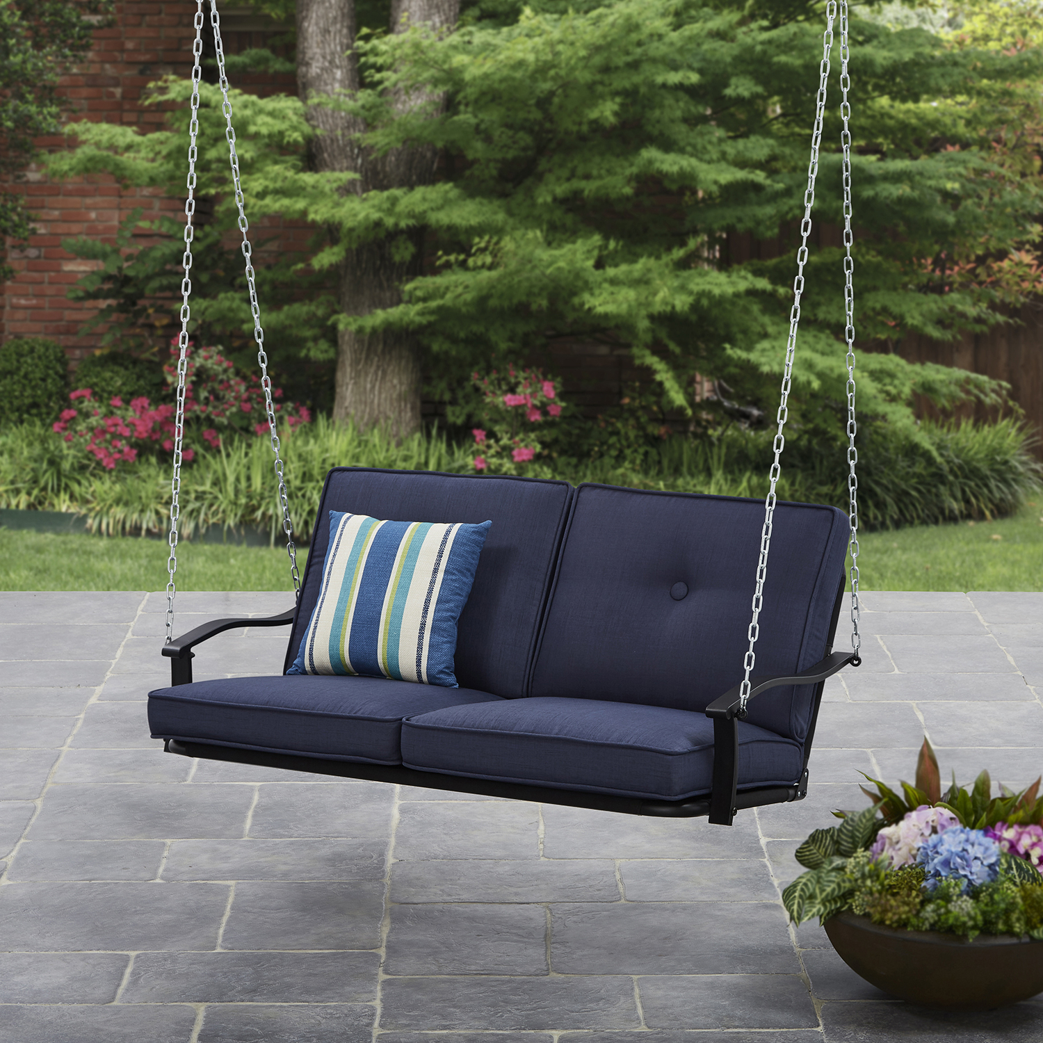 Most Recently Released Mainstays Belden Park Outdoor Porch Swing With Cushion Within Vineyard Porch Swings (View 25 of 25)