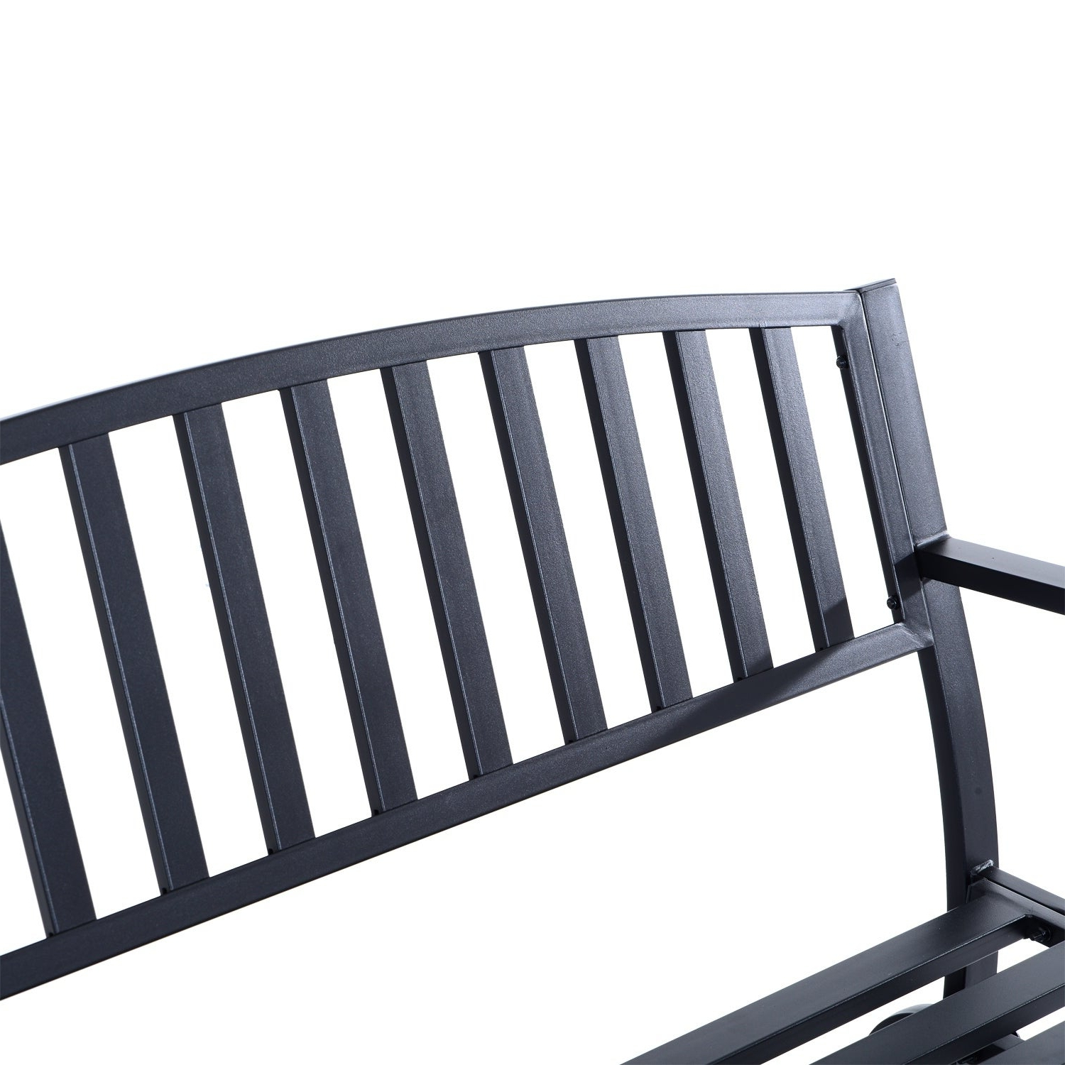 Most Recently Released Outsunny 50 Inch Outdoor Steel Patio Swing Glider Bench – Black For Black Steel Patio Swing Glider Benches Powder Coated (Gallery 24 of 25)