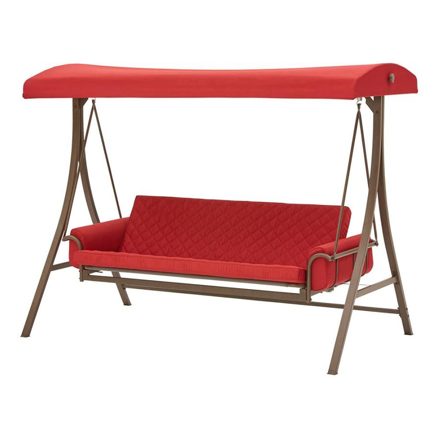 Most Recently Released Porch Swings & Gliders At Lowes For 3 Person Light Teak Oil Wood Outdoor Swings (View 14 of 25)