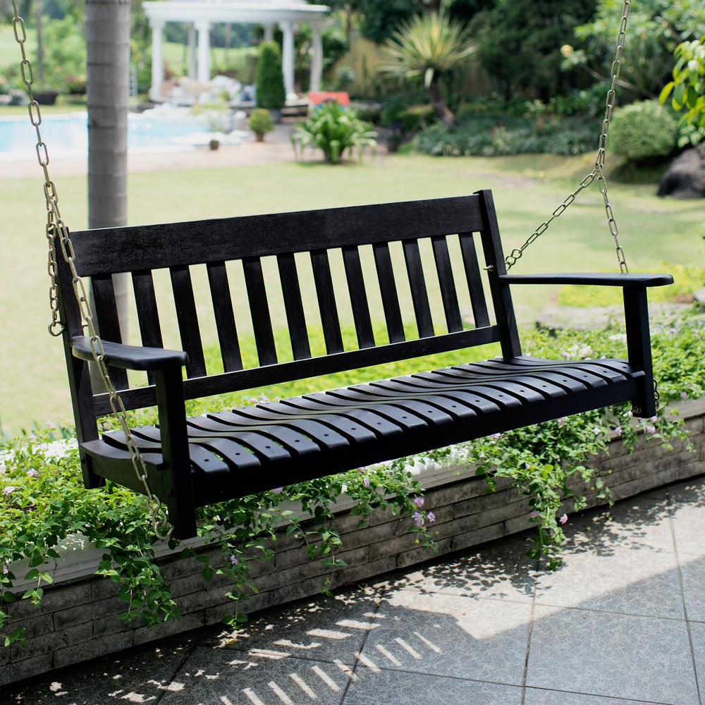Most Recently Released Porch Swings Pertaining To Cambridge Casual Thames Black Wood Porch Swing (View 6 of 26)