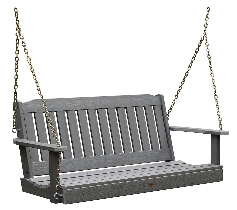 Most Recently Released Teak Porch Swings Inside Highwood Lehigh Porch Swing 4 Feet, Coastal Teak – Walmart (View 16 of 25)