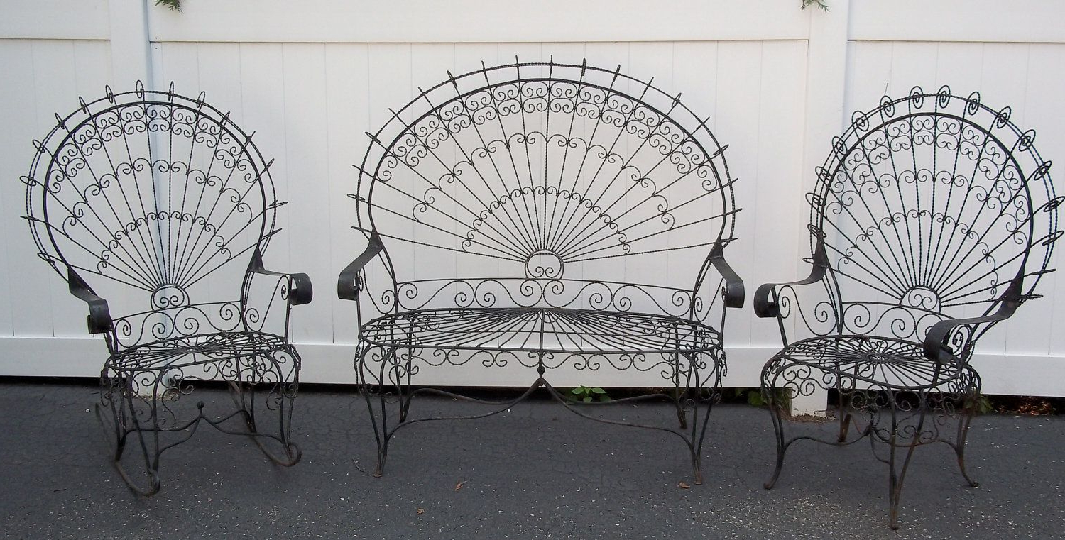 Most Recently Released Vintage Victorian Peacock Wrought Iron Lawn Patio Garden Set In 1 Person Antique Black Iron Outdoor Swings (View 9 of 25)