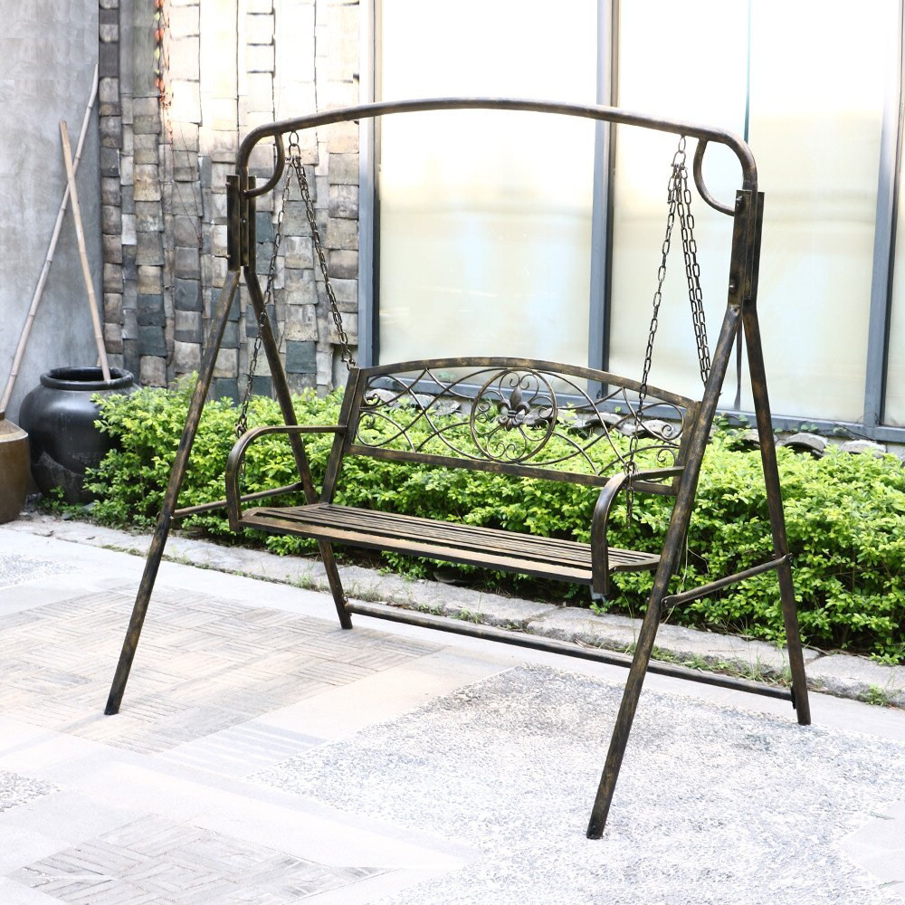 Most Up To Date 2 Person Antique Black Iron Outdoor Swings Intended For Hamblin 2 Person Patio Porch Swing (Gallery 3 of 25)