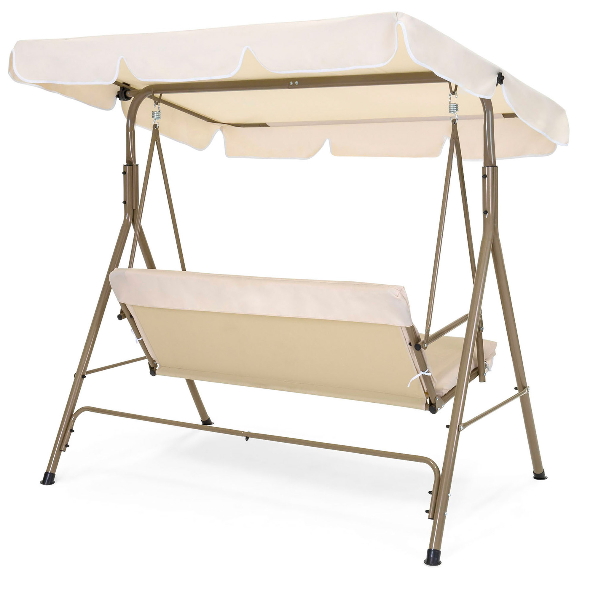 Most Up To Date 2 Person Outdoor Convertible Canopy Swing Gliders With Removable Cushions Beige Regarding Best Choice Products 2 Person Outdoor Large Convertible (View 2 of 25)