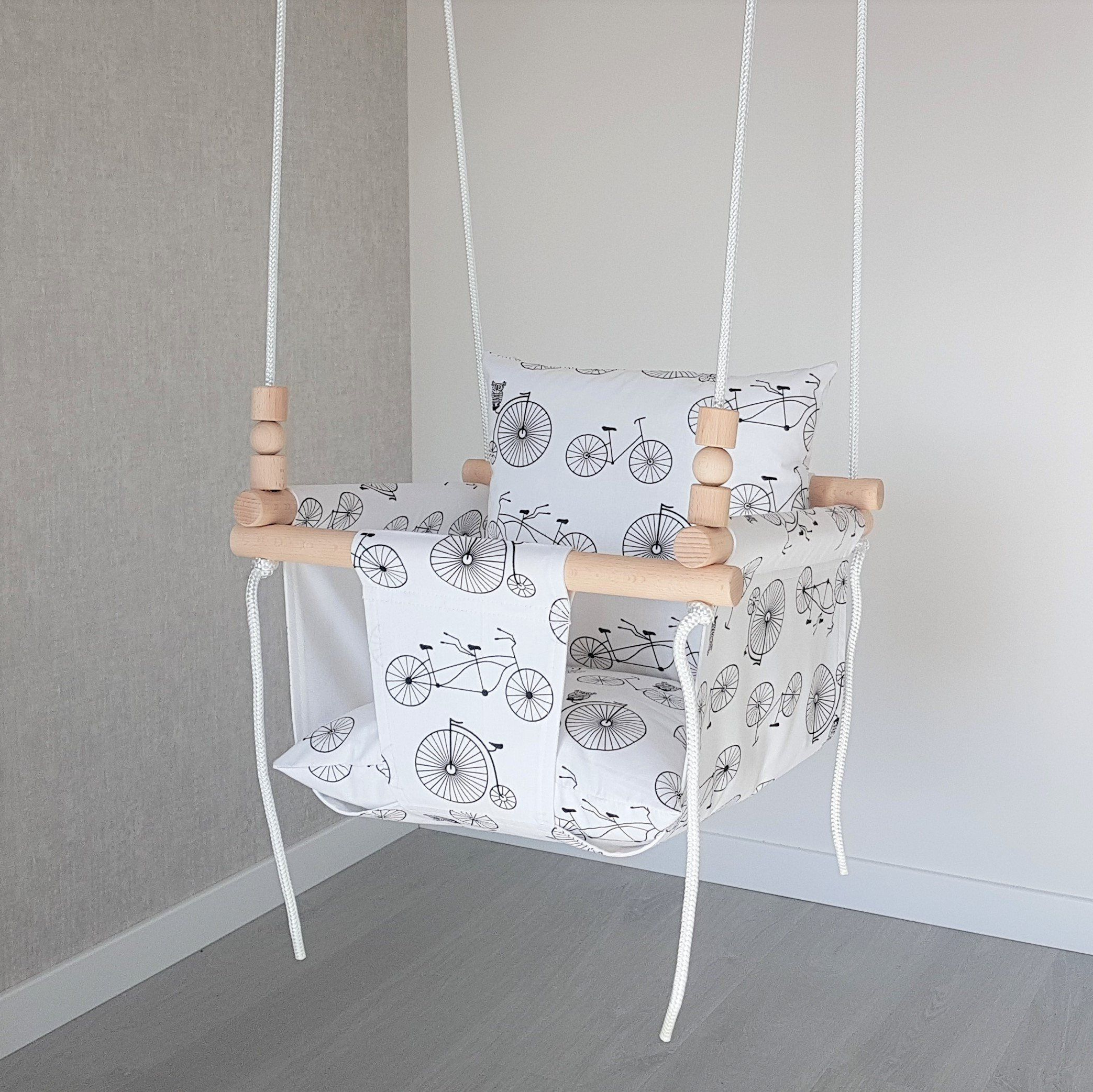 Most Up To Date Baby Swing***ships Fast***wooden Swing/ Porch Swing/ Nursery For Cotton Porch Swings (Gallery 24 of 25)