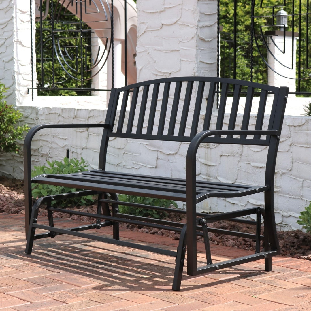 Most Up To Date Black Outdoor Durable Steel Frame Patio Swing Glider Bench Chairs With Regard To Sunnydaze Black Steel Metal Outdoor Patio Garden Glider Bench – 50 Inch (View 19 of 25)