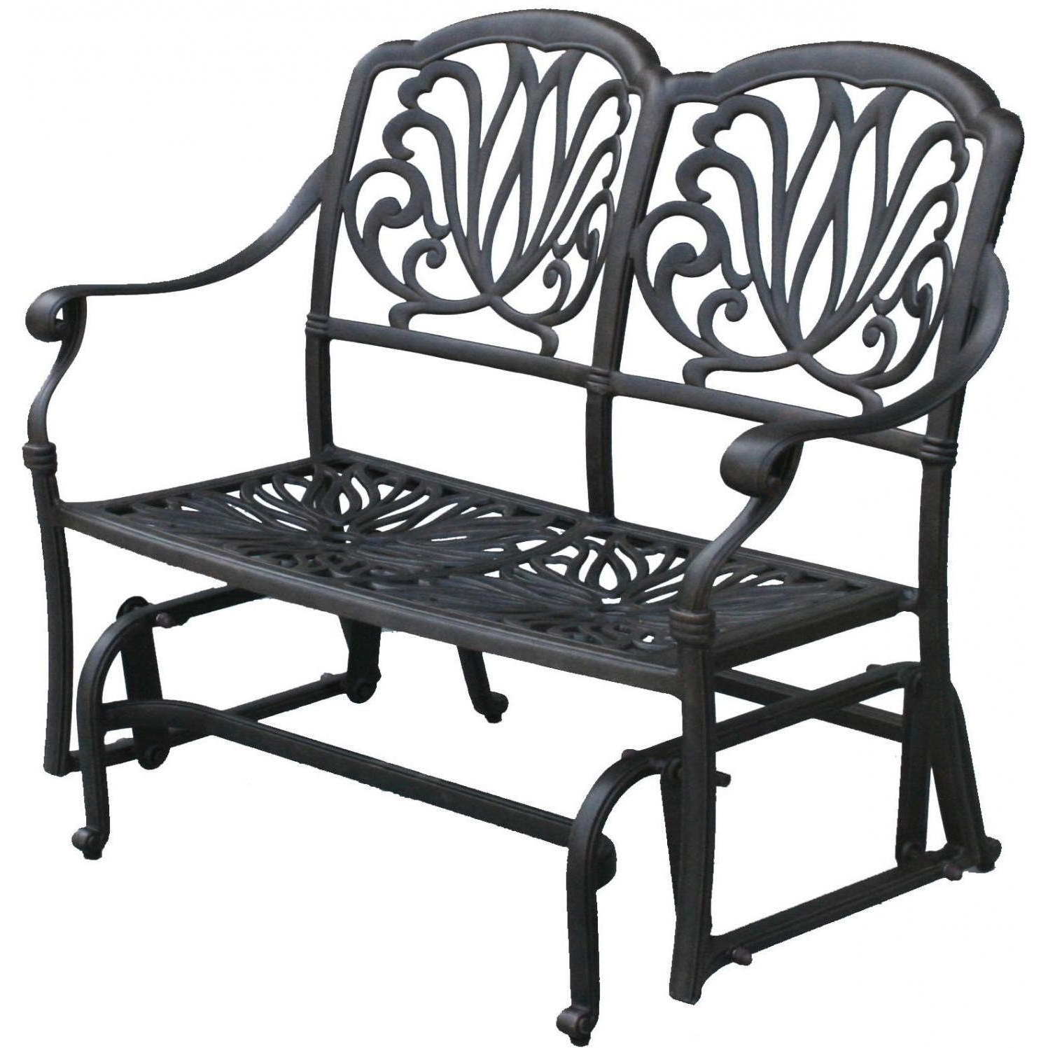 Most Up To Date Black Steel Patio Swing Glider Benches Powder Coated Throughout Darlee Elisabeth 2 Piece Cast Aluminum Patio Bench Glider (View 13 of 25)