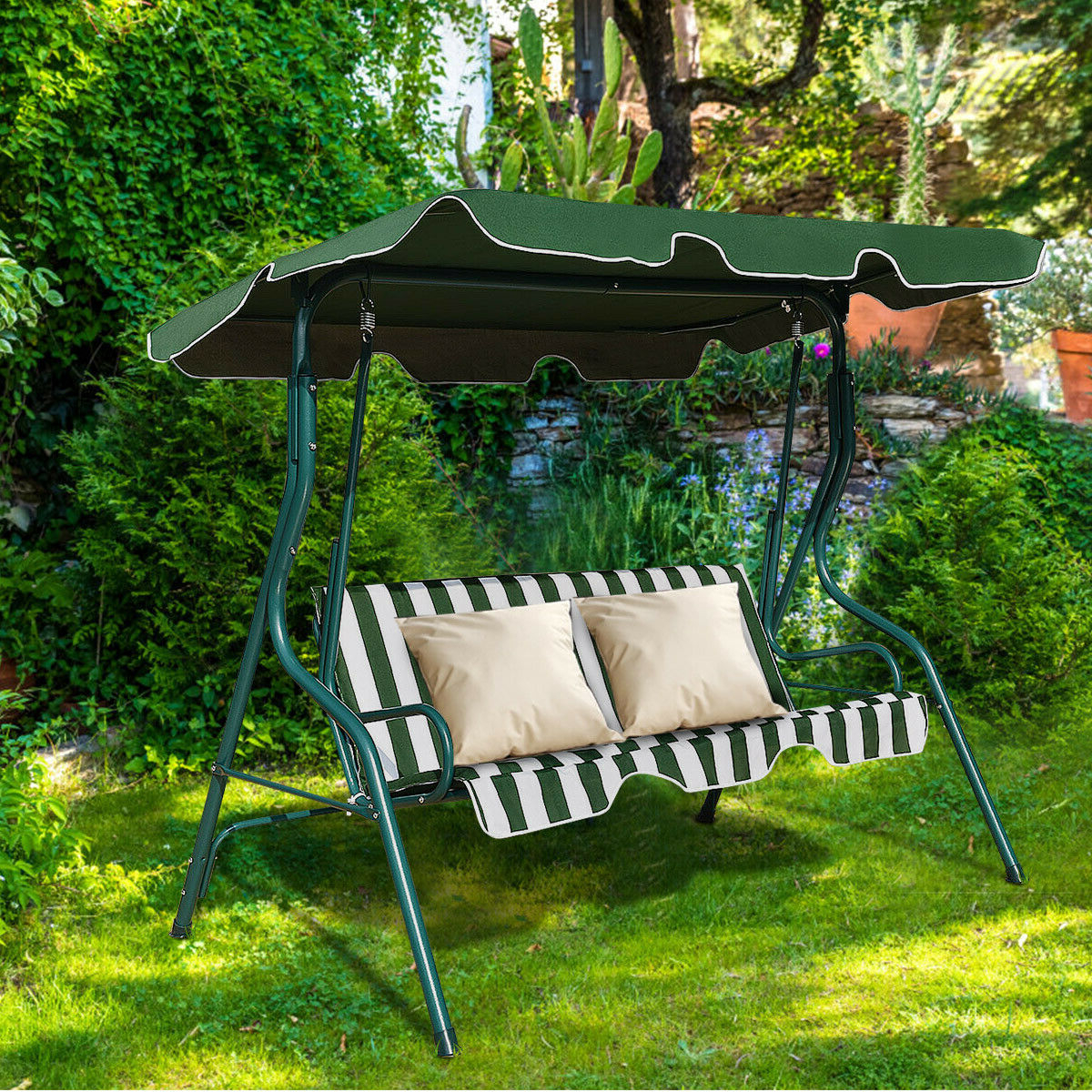 Most Up To Date Costway 3 Seats Patio Canopy Swing Glider Hammock Cushioned Steel Frame Backyar Green Within 3 Seats Patio Canopy Swing Gliders Hammock Cushioned Steel Frame (Gallery 11 of 25)