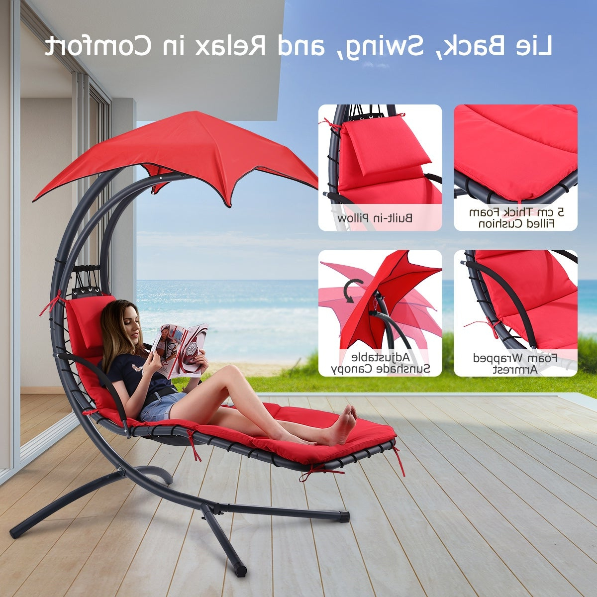 Most Up To Date Finether Hanging Chaise Lounge Chair Outdoor Indoor Hammock Chair Swing With Arc Stand Within Garden Leisure Outdoor Hammock Patio Canopy Rocking Chairs (View 18 of 25)