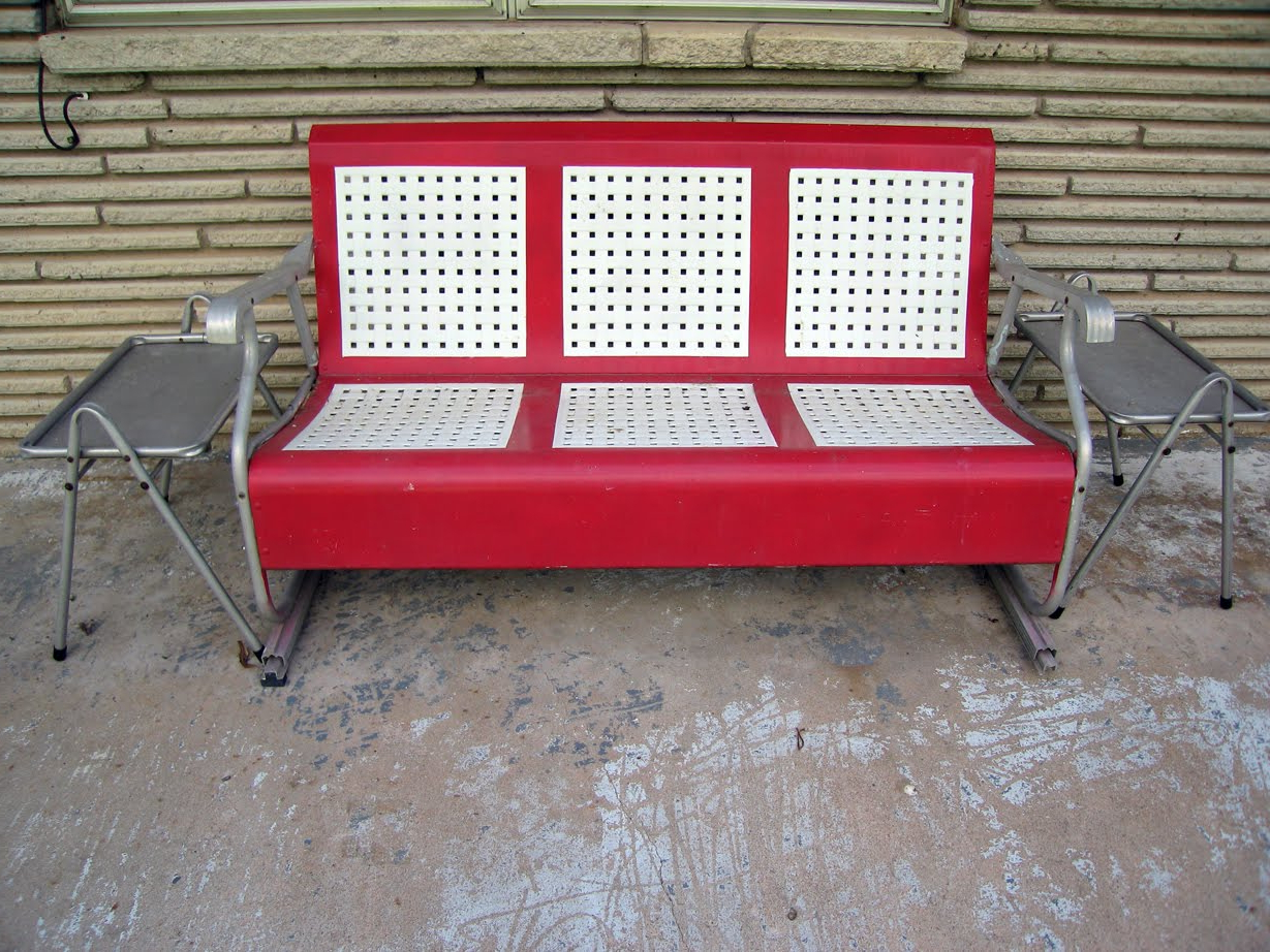 Most Up To Date Steel Patio Swing Glider Benches With Regard To Furniture: Metal Porch Glider In Red And White For Outdoor (View 21 of 25)