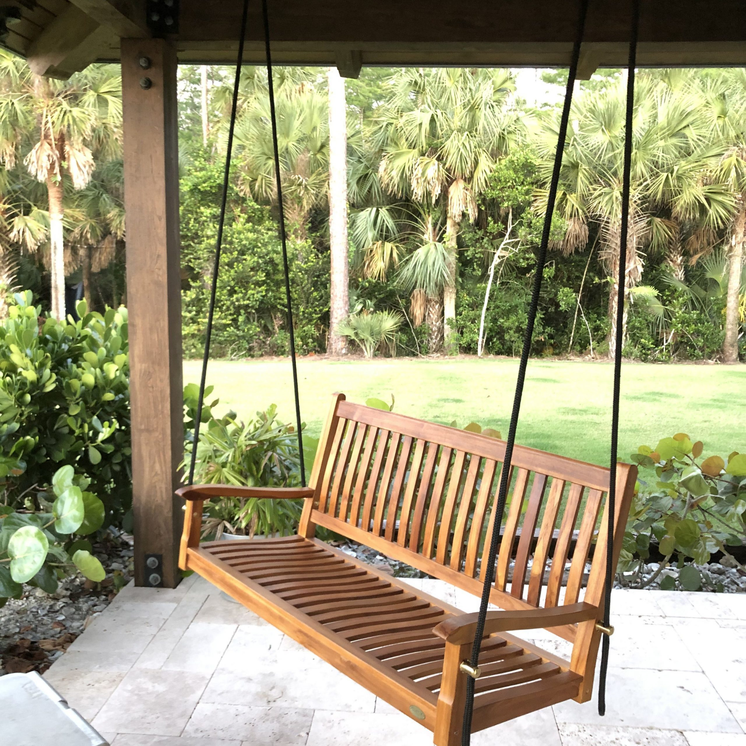 Most Up To Date Teak Porch Swings Inside Teak Porch Swing With Boat Rope (View 5 of 25)