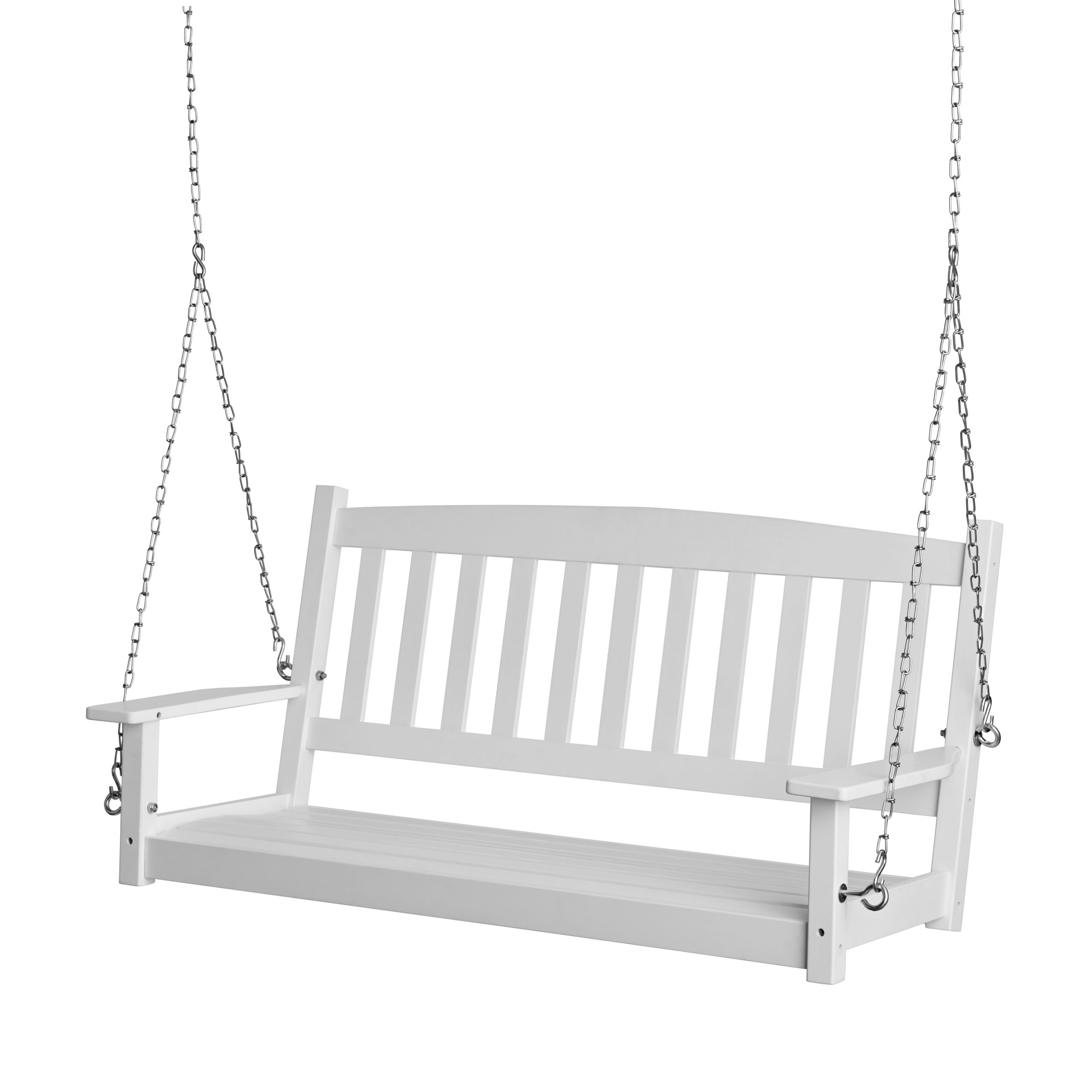 Newest 2 Person Black Wood Outdoor Swings Intended For Mainstays White Porch Swing – Walmart (View 10 of 25)