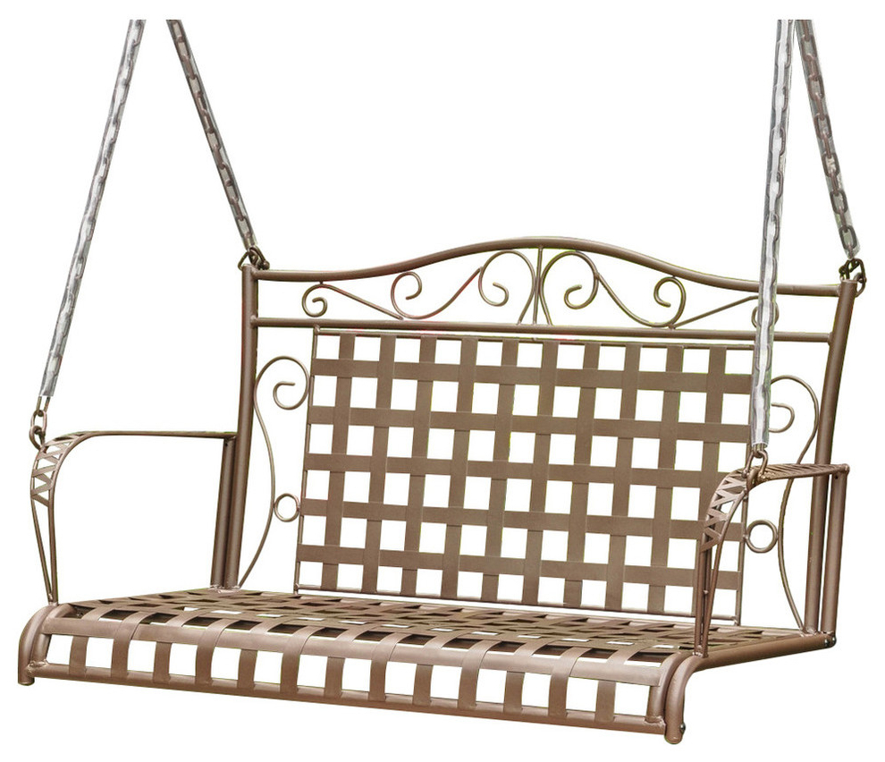 Newest 2 Person Hammered Bronze Iron Outdoor Swings Within Mandalay Wrought Iron Patio Swing, Rustic Brown (View 23 of 25)