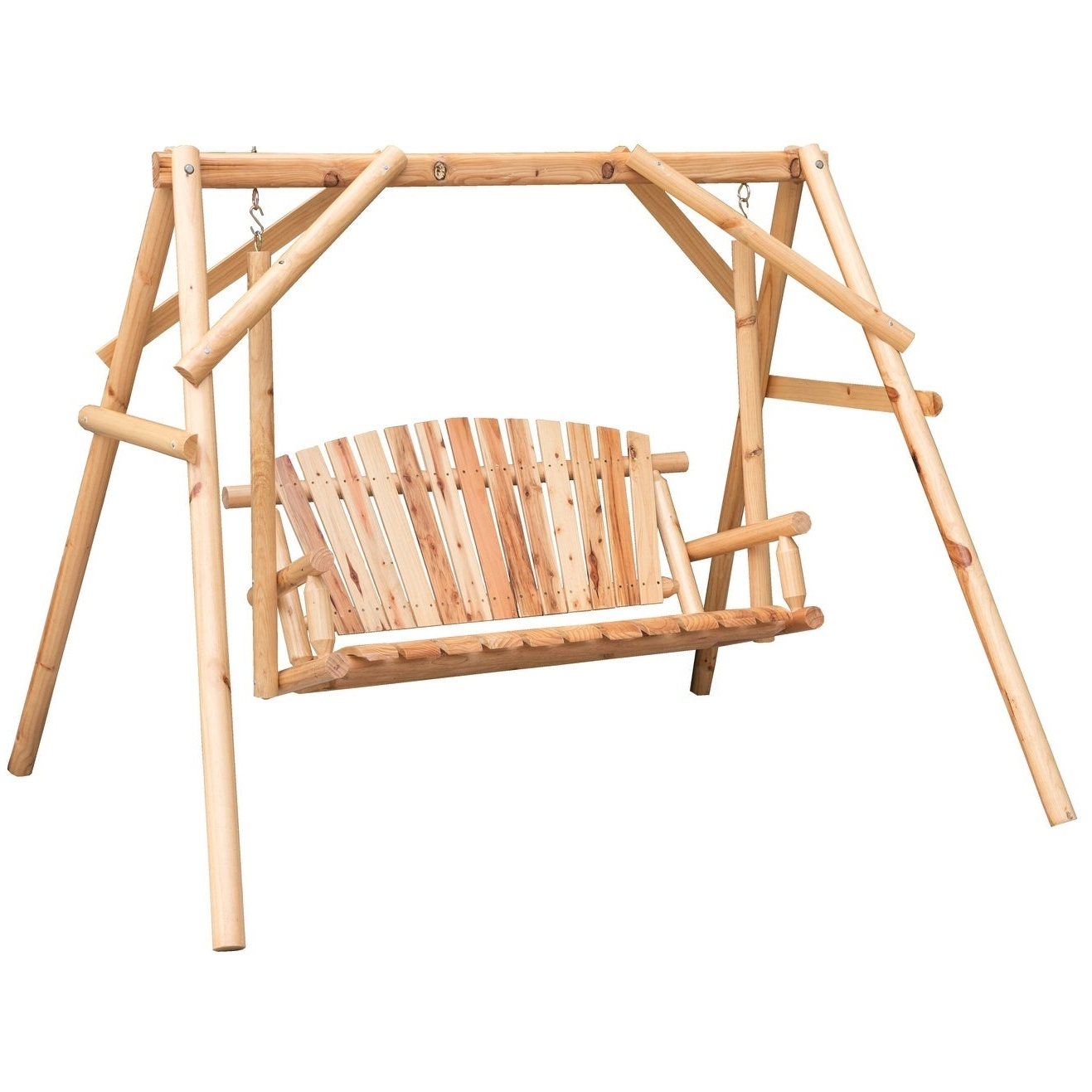 Newest 2 Person Light Teak Oil Wood Outdoor Swings Throughout Wooden A Frame 2 Person Outdoor Porch Patio Swing Log Wood Chair Bench (View 19 of 25)