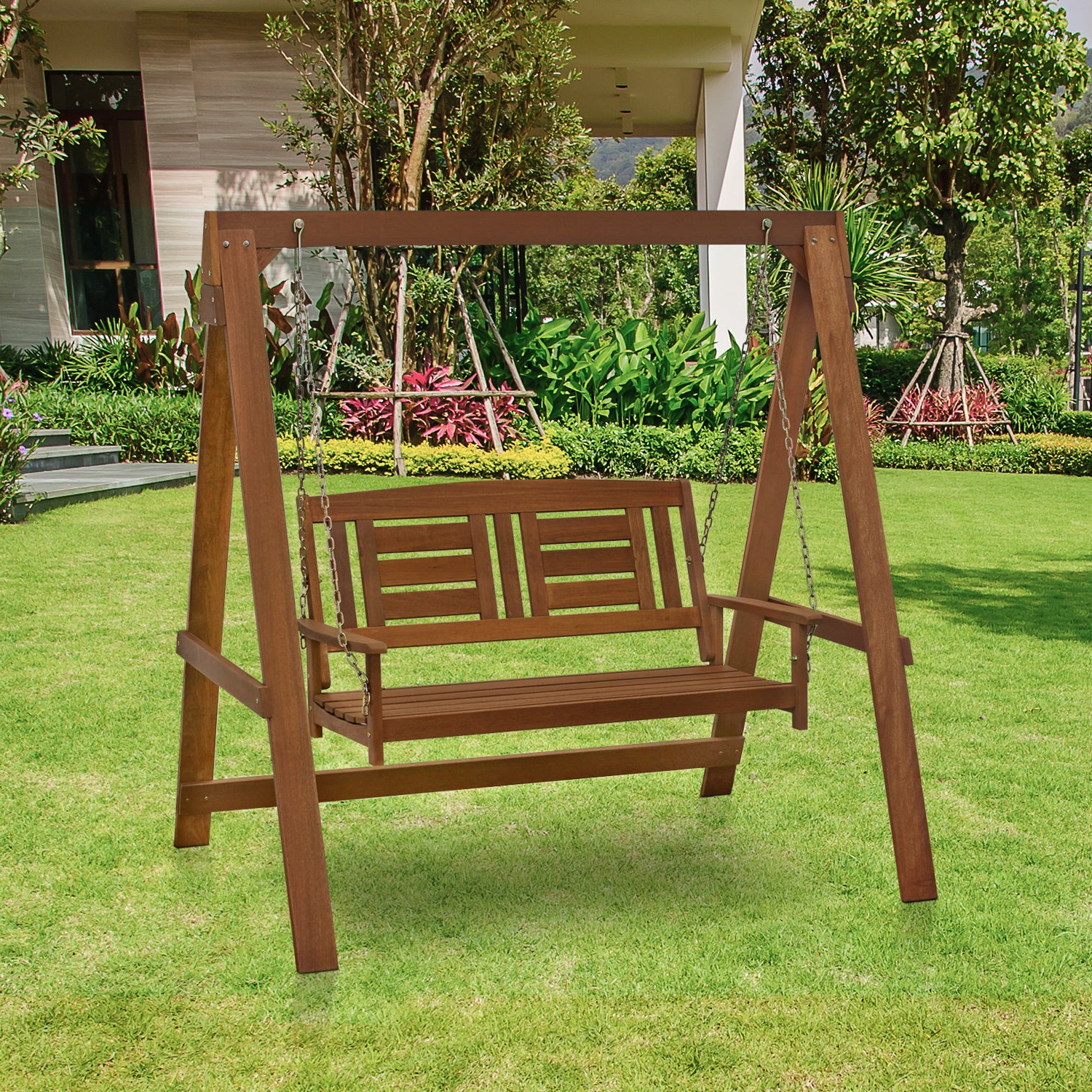 Newest Porch Swings With Stand With Regard To Furinno Tioman Hardwood Hanging Porch Swing With Stand In Teak Oil, Fg16409 (Gallery 10 of 25)