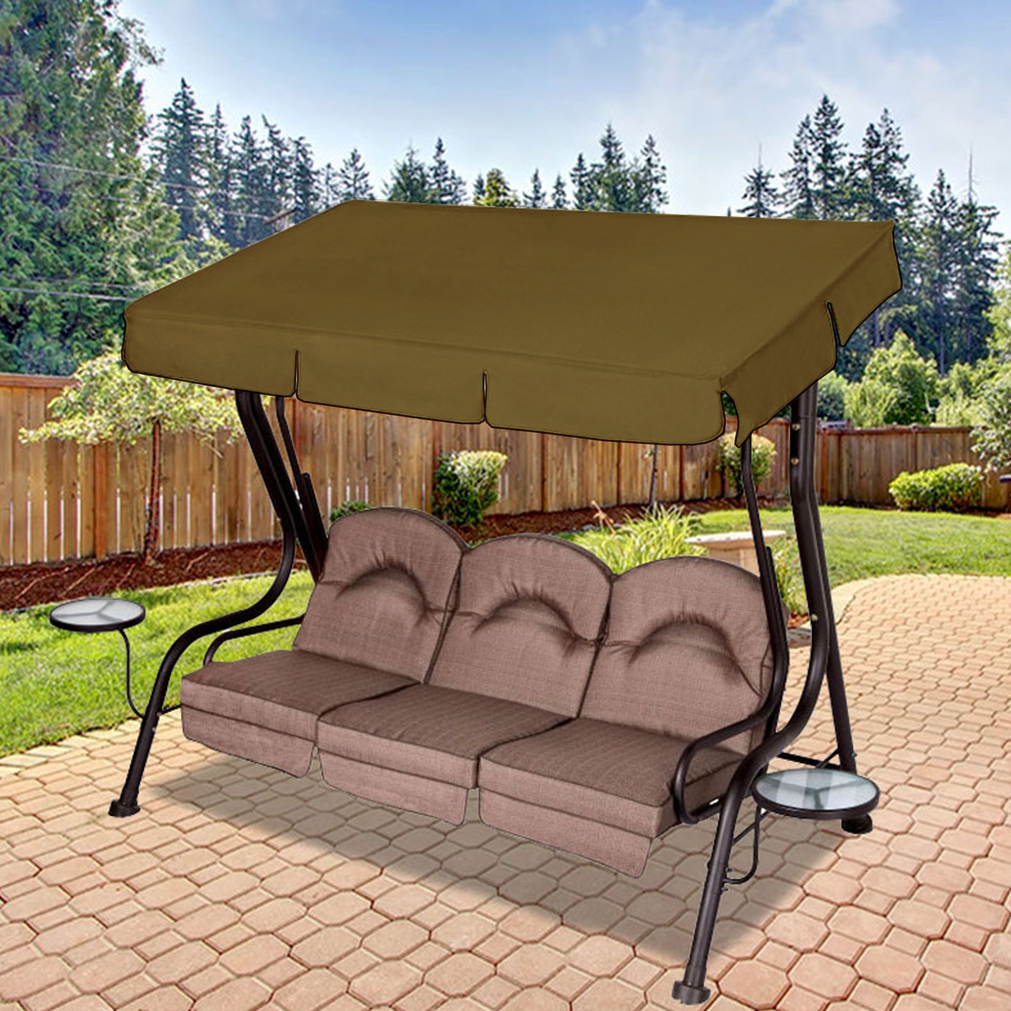 Newest Replacement Canopy For Living Accents 3 Person Deluxe Swing For 3 Person Brown Steel Outdoor Swings (Gallery 24 of 25)