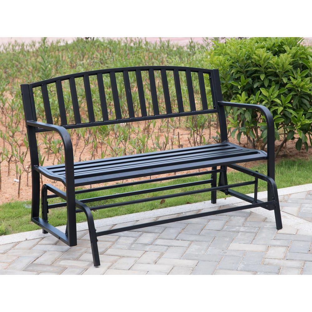 Newest Steel Patio Swing Glider Benches For Gardenised 50 In (View 13 of 25)