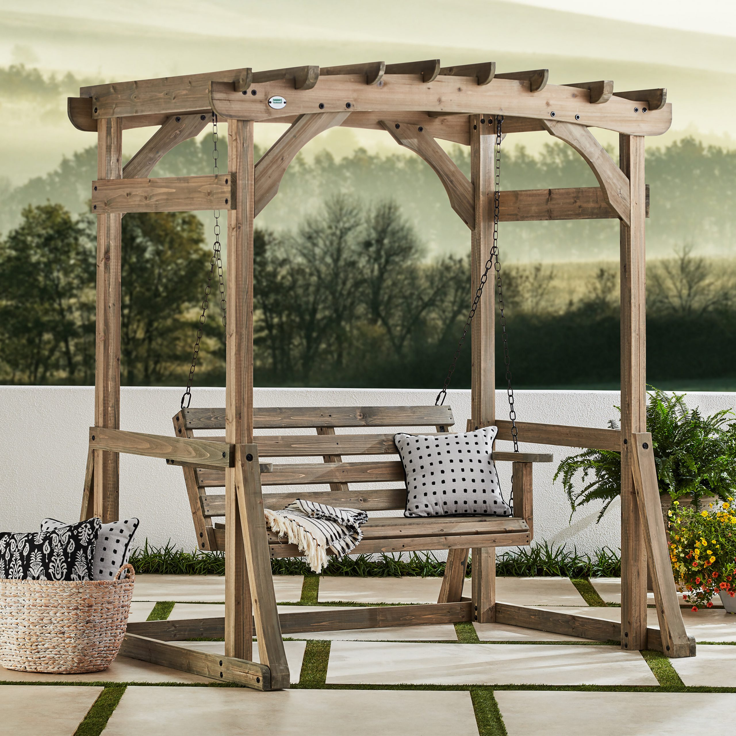 Odessa Pergola Porch Swing With Stand Intended For Famous Pergola Porch Swings With Stand (Gallery 2 of 25)