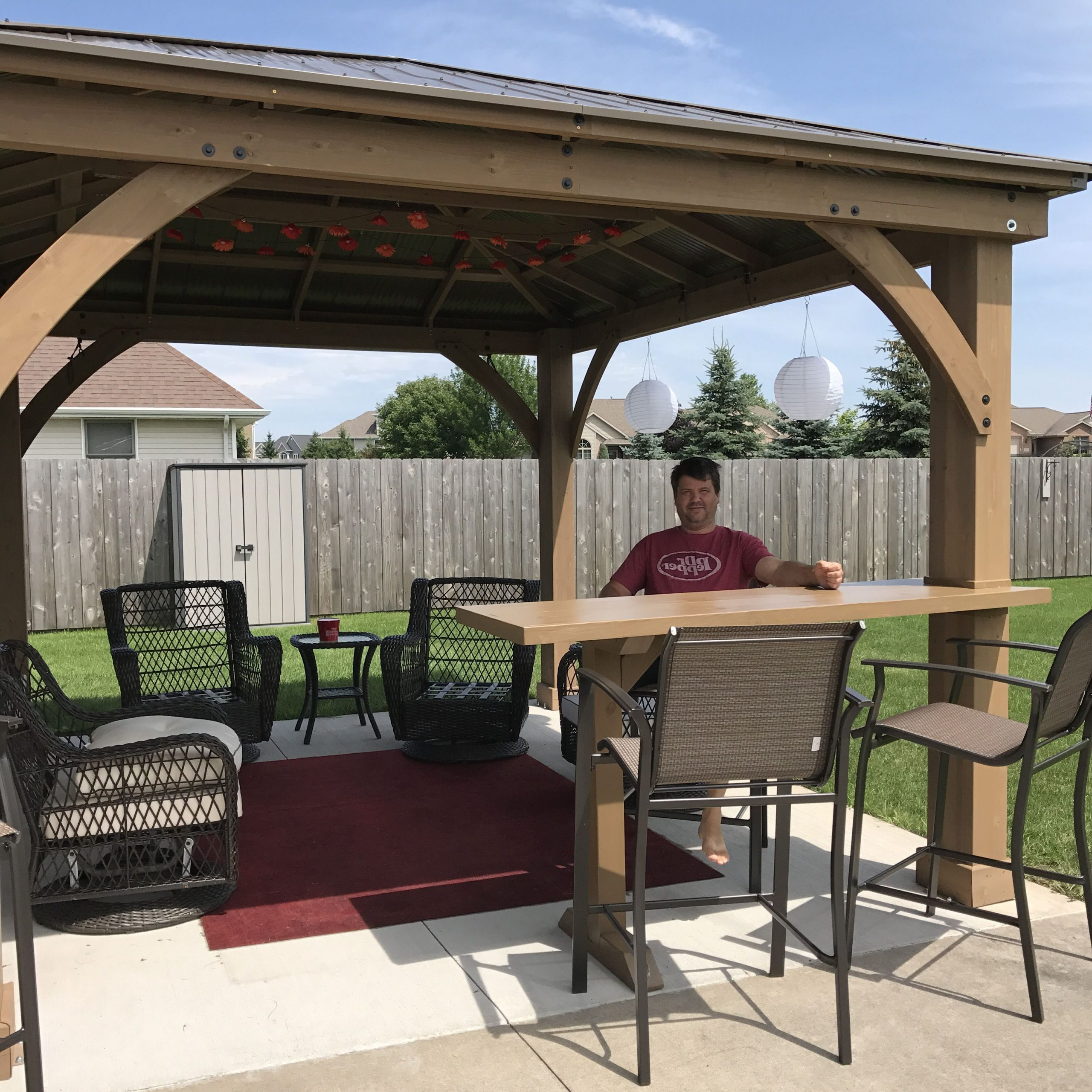 Our Yardistry Gazebo With Custom Bar Top Addition Throughout Well Liked A4 Ft Cedar Pergola Swings (View 17 of 25)