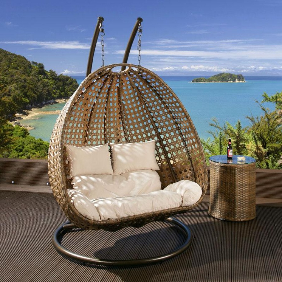 Outdoor 2 Person Garden Hanging Chair Brown Rattan – Regarding Popular Rattan Garden Swing Chairs (Gallery 11 of 25)