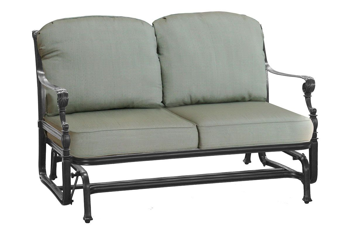 Outdoor Loveseat Gliders With Cushion In Current Grand Terrace Loveseat Glider (View 10 of 25)