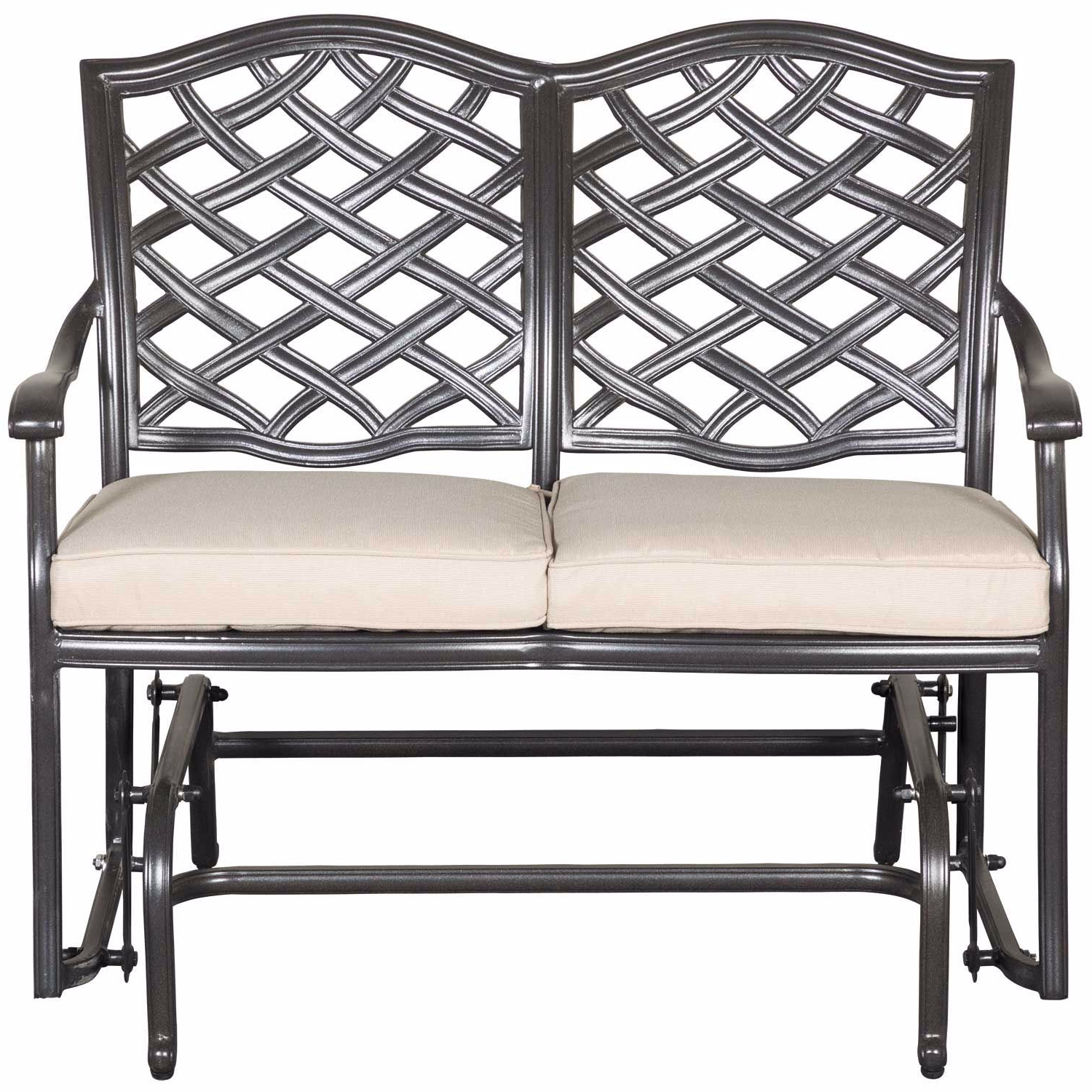 Outdoor Loveseat Gliders With Cushion In Fashionable Halston Patio Glider Loveseat With Cushions (View 15 of 25)