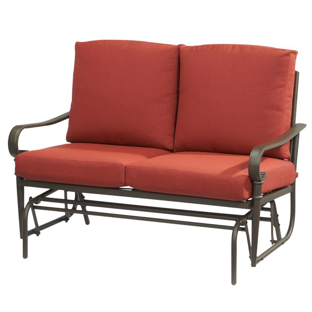 Outdoor Loveseat Gliders With Cushion Regarding Newest Hampton Bay Oak Cliff Metal Outdoor Glider With Chili Cushions (View 4 of 25)