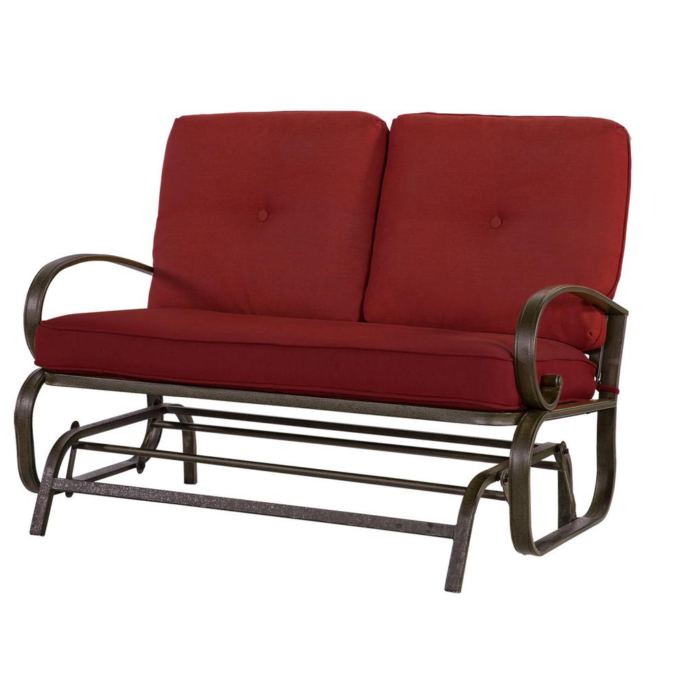 Outdoor Loveseat Gliders With Cushion With Most Up To Date Crawford & Burke Leonard 2 Person Outdoor Loveseat Glider With Red Cushions (View 2 of 25)