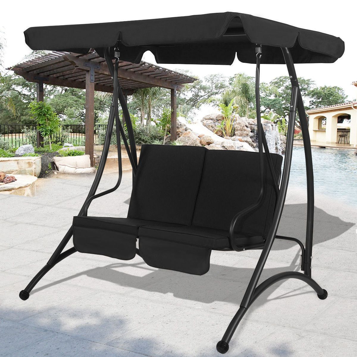 Outdoor Patio Canopy Swing Chair Metal 2 Person Garden Within Well Known Canopy Patio Porch Swings With Pillows And Cup Holders (View 3 of 25)