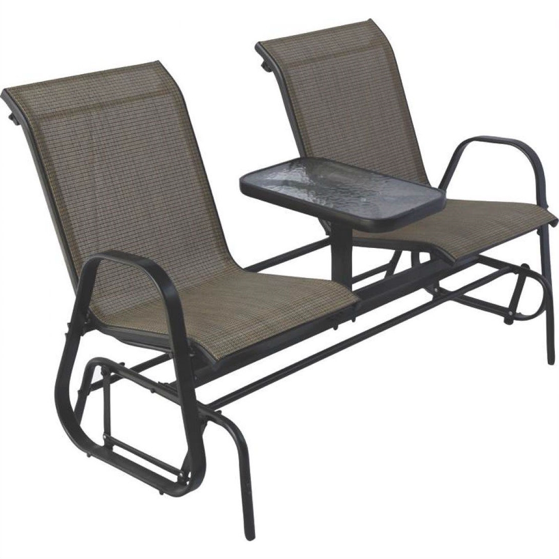 Outdoor Patio Swing Glider Bench Chairs Intended For Newest 2 Person Outdoor Patio Furniture Glider Chairs With Console Table (View 23 of 25)