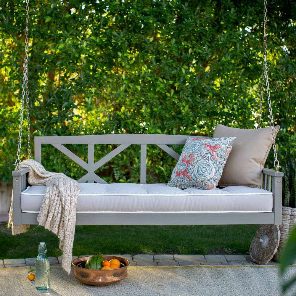 Outdoor Porch Swings Regarding Widely Used Outdoor Porch Swing Cool Furniture Lights Hanging Cushions (View 16 of 25)