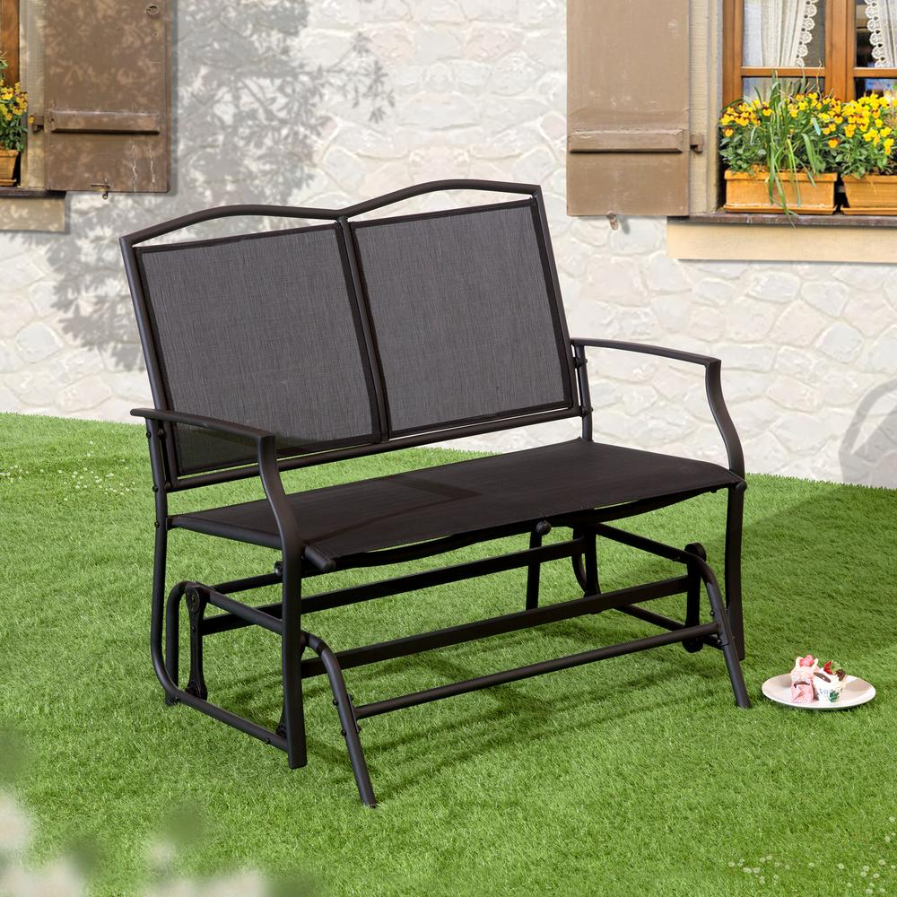 Outdoor Steel Patio Swing Glider Benches Regarding Well Known Suntime Outdoor Living 1 Piece Black Steel Outdoor Swing Glider Bench (View 9 of 25)
