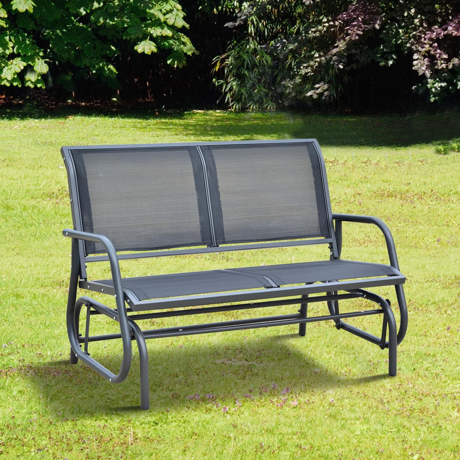 "Outdoor Steel Patio Swing Glider Benches Throughout Famous Outsunny 48"" Outdoor Patio Swing Glider Bench Chair – Dark (View 7 of 25)"