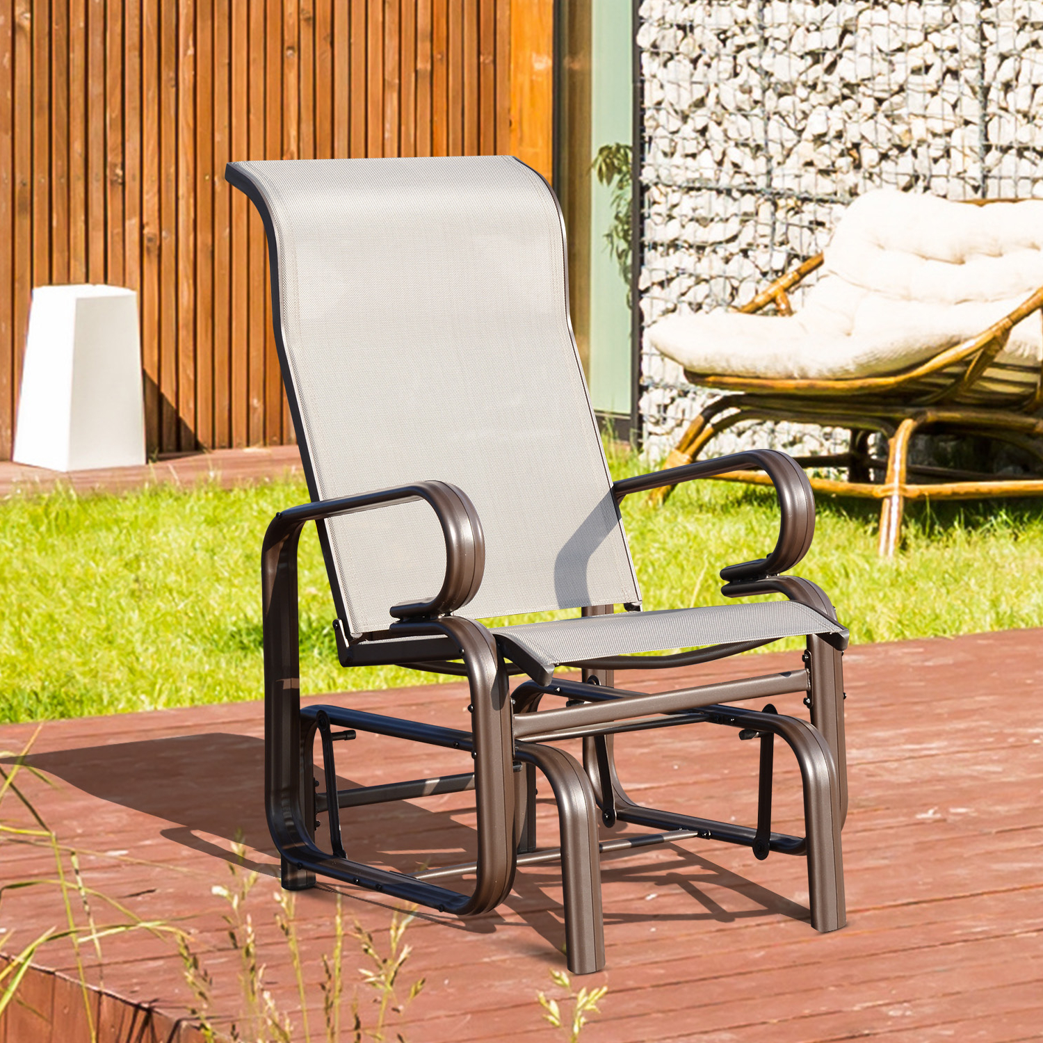 Outdoor Swing Glider Chairs With Powder Coated Steel Frame With Widely Used Outsunny Garden Glider Seat Outdoor Rocking Chair Gliding Swing Seat Patio Deck Porch Furniture (View 20 of 25)