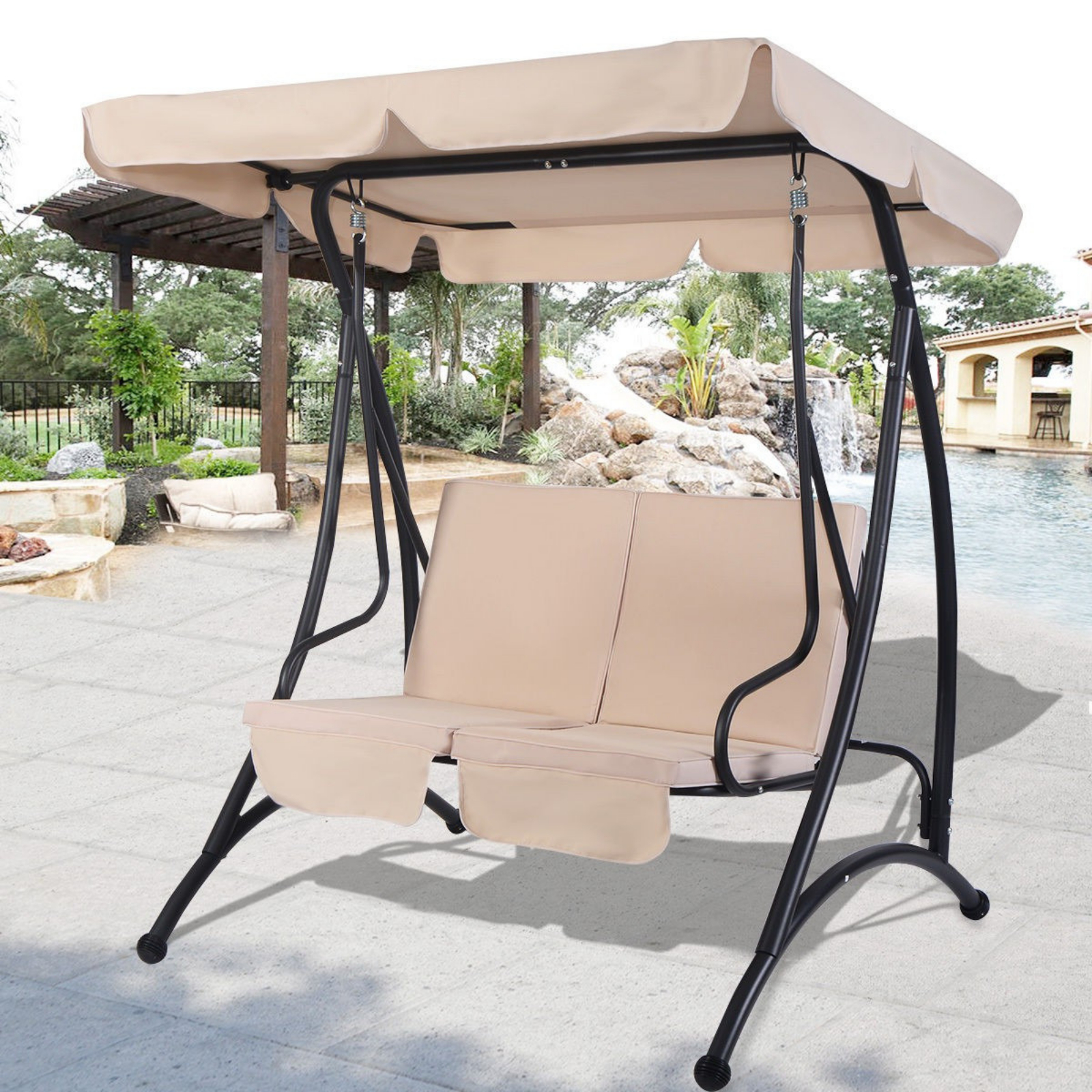 Outdoor Swing With Canopy 2 Person Patio Porch Steel Swing Double Hanging Seat Inside Most Recent Canopy Patio Porch Swing With Stand (View 6 of 25)
