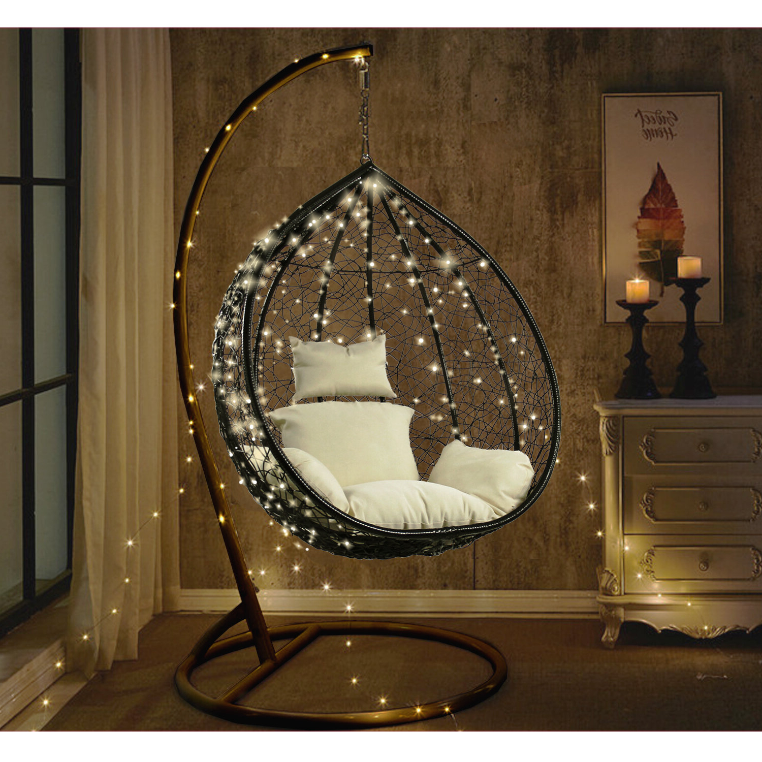 Outdoor Wicker Plastic Half Moon Leaf Shape Porch Swings Throughout Fashionable Hobbs Outdoor Wicker Plastic Tear Porch Swing With Stand (View 15 of 25)