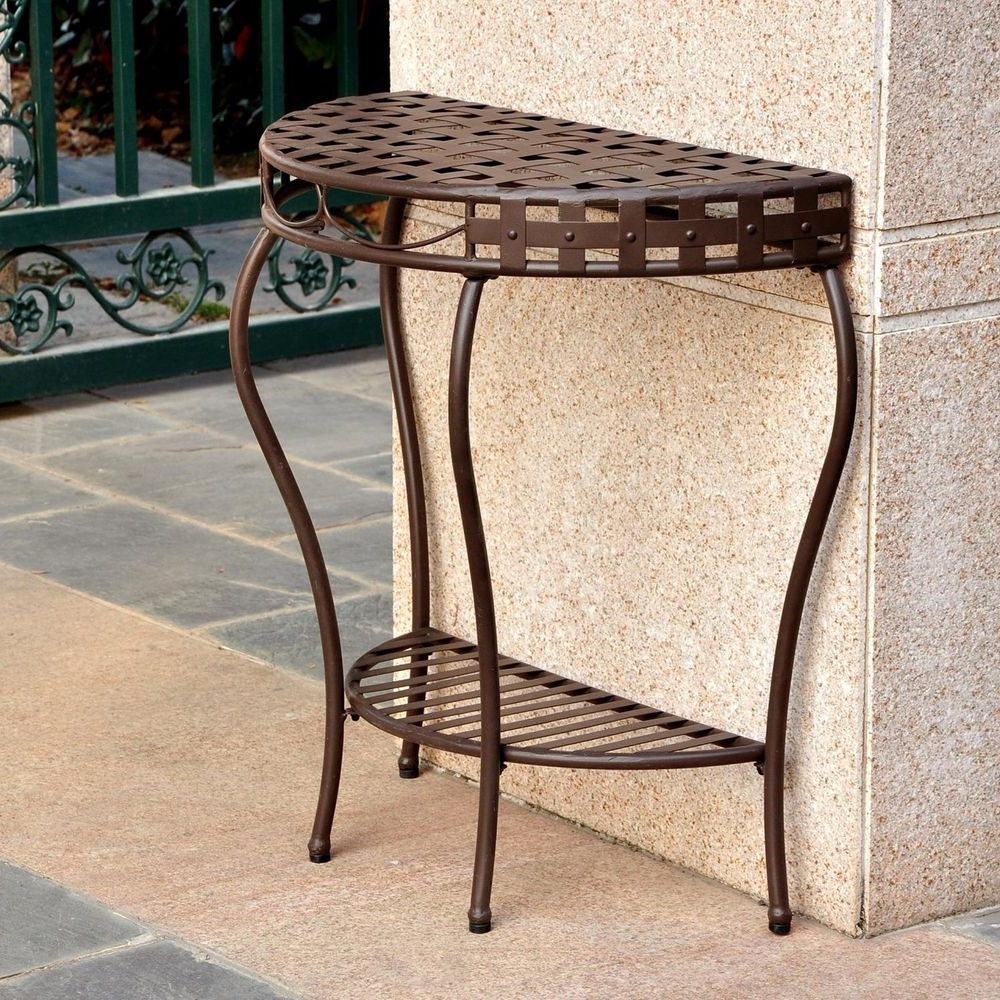 Outdoor Wicker Plastic Half Moon Leaf Shape Porch Swings Within 2020 Table Outdoor Half Moon Wrought Iron Patio Console 2 Tier (View 21 of 25)