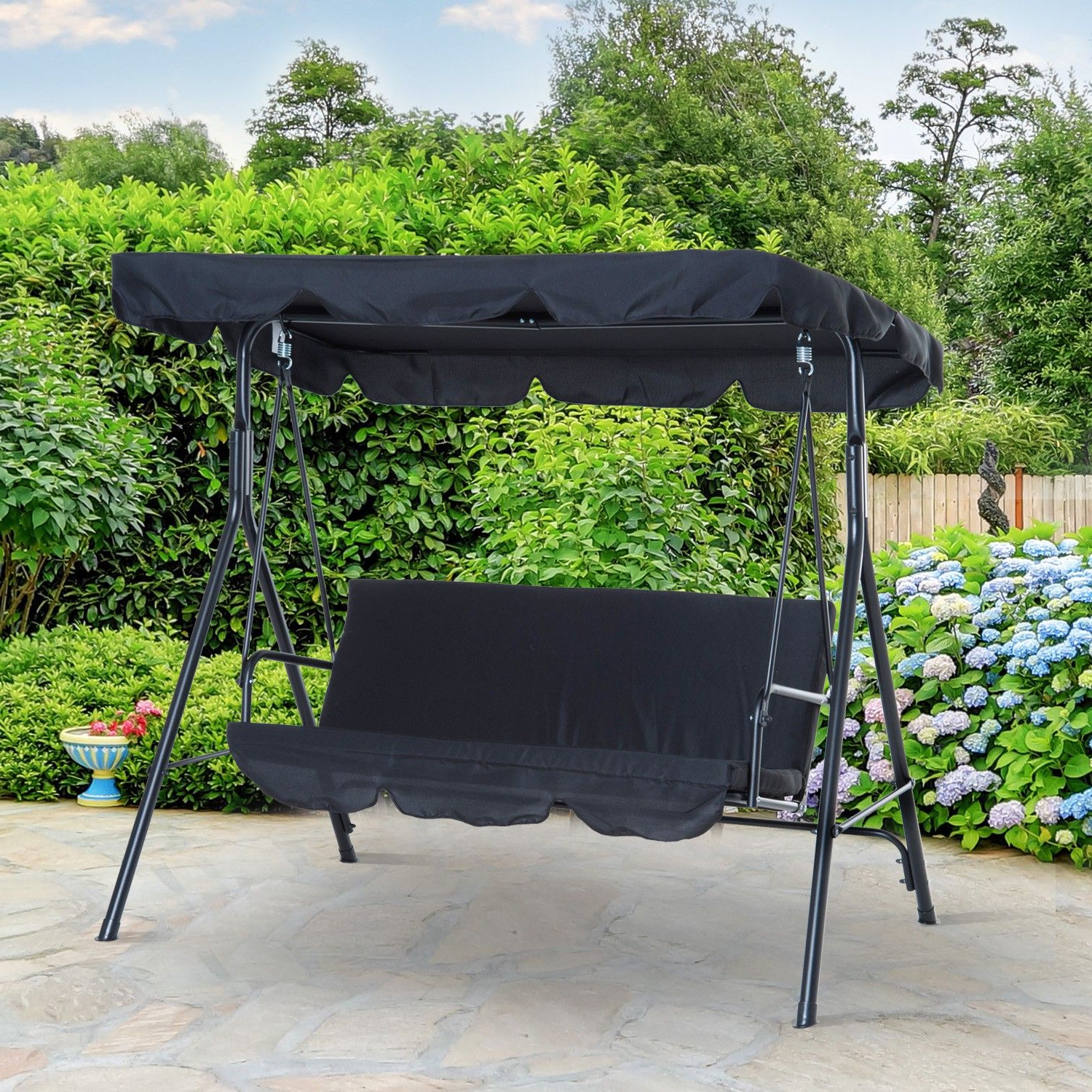Outsunny Metal 3 Seater Outdoor Patio Swing With Canopy Inside Recent 3 Seats Patio Canopy Swing Gliders Hammock Cushioned Steel Frame (Gallery 6 of 25)