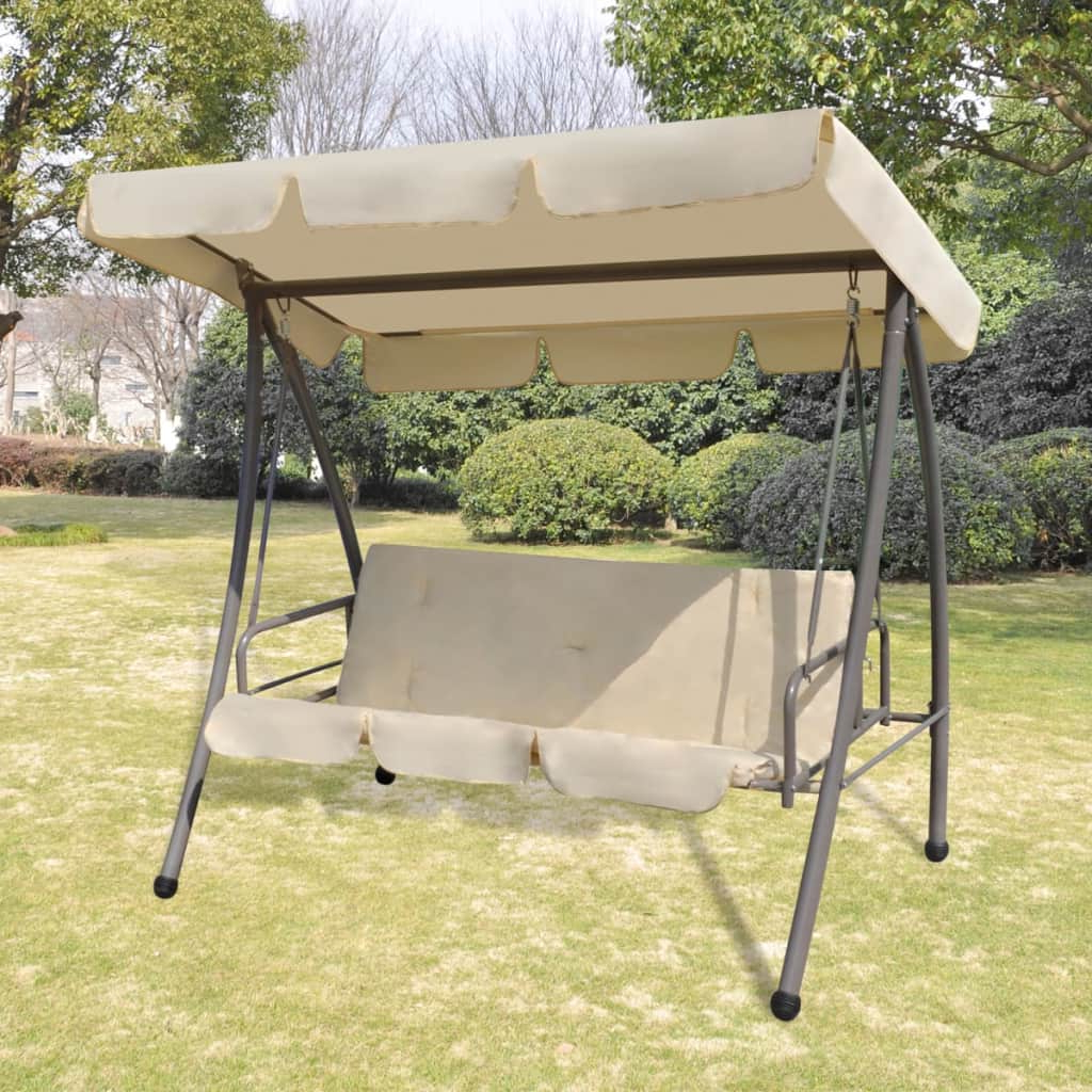 Patio Gazebo Porch Canopy Swings Inside Best And Newest Details About 3 Person Outdoor Swing Chair / Bed With Canopy Sand Patio  Porch Bed Backyard New (Gallery 11 of 25)