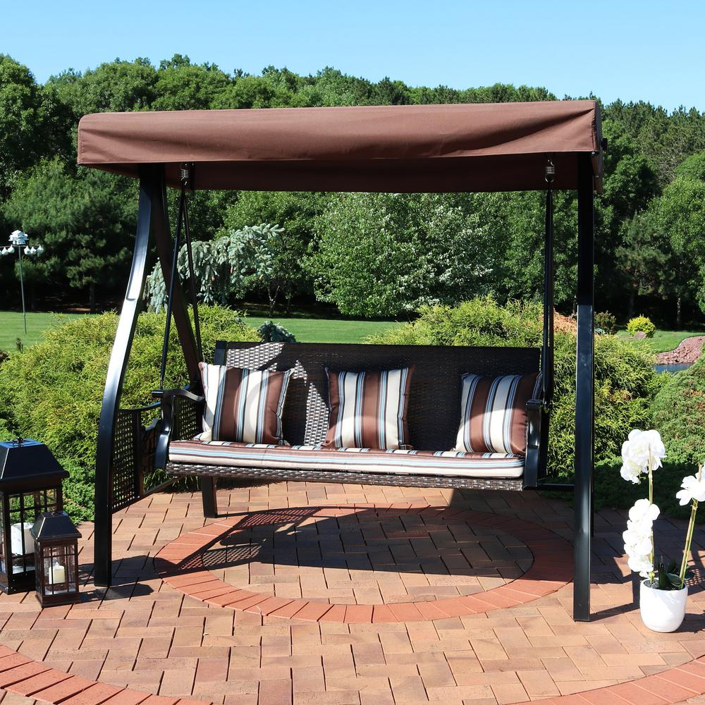 Patio Gazebo Porch Canopy Swings Intended For Best And Newest Sunnydaze Decor Deluxe Steel Frame Canopy Porch Swing With Brown Striped  Cushion And Side Tables (Gallery 7 of 25)