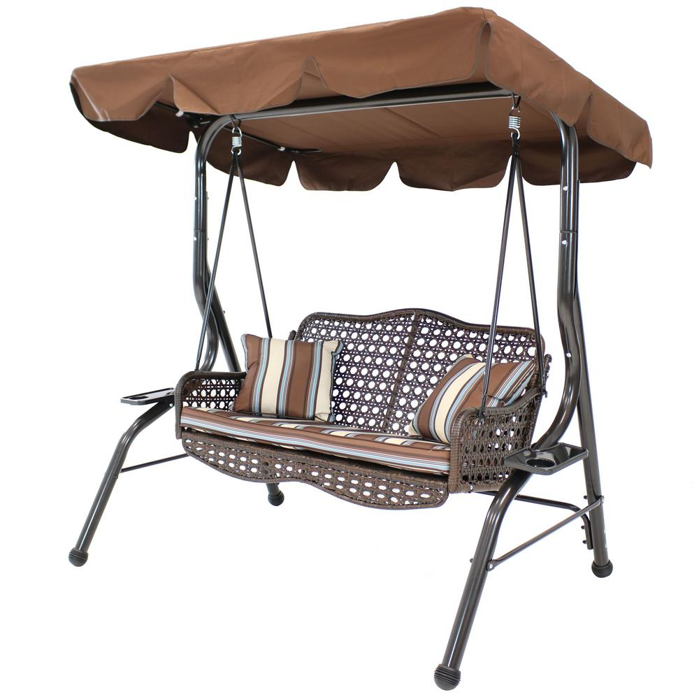 Patio Gazebo Porch Canopy Swings Pertaining To Fashionable Sunnydaze Decor 2 Person Rattan Patio Outdoor Porch Swing With Adjustable  Tilt Canopy (Gallery 23 of 25)